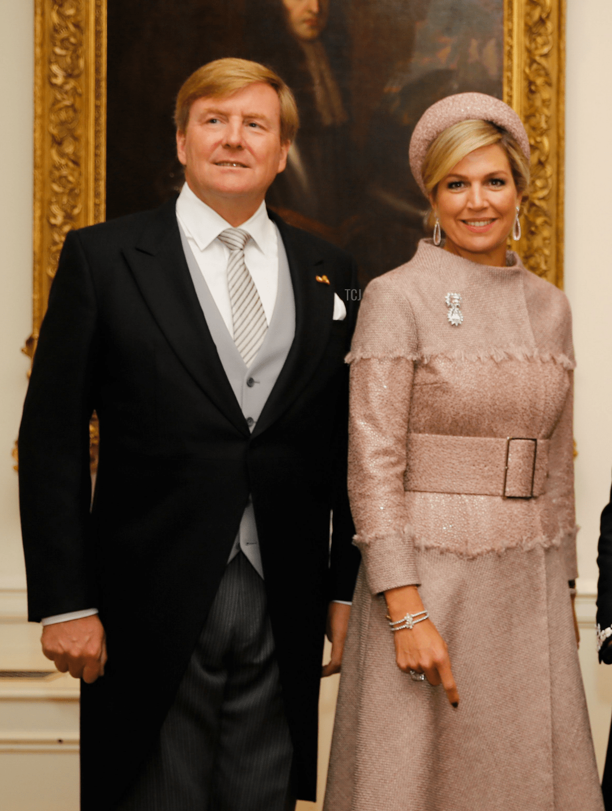 King Willem-Alexander and Queen Maxima of the Netherlands at the Dutch Ambassadors Residence in London on October 23, 2018