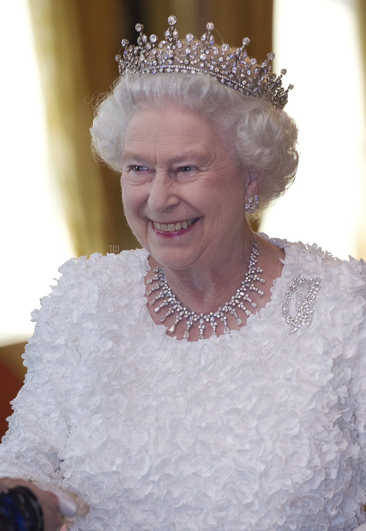 Queen Elizabeth II smiles as she attends the State Dinner on the second day of her State Visit, at Dublin Castle, on May 18, 2011 in Dublin, Ireland