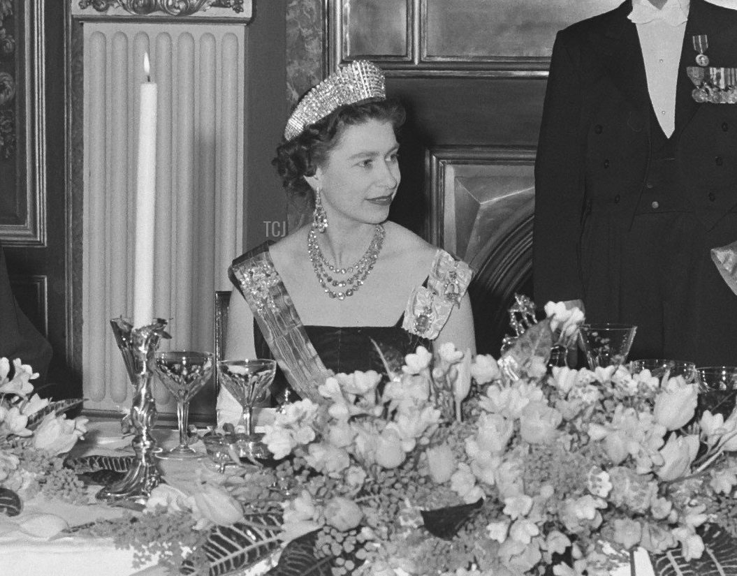 Queen Elizabeth II at a dinner during her state visit to the Netherlands, 1958