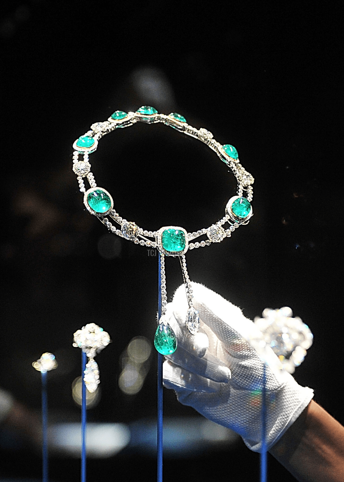 The emerald and diamond necklace designed for the Delhi Durbar on display in the Diamonds: A Jubilee Celebration exhibition which forms part of the summer opening of Buckingham Palace on June 28, 2012