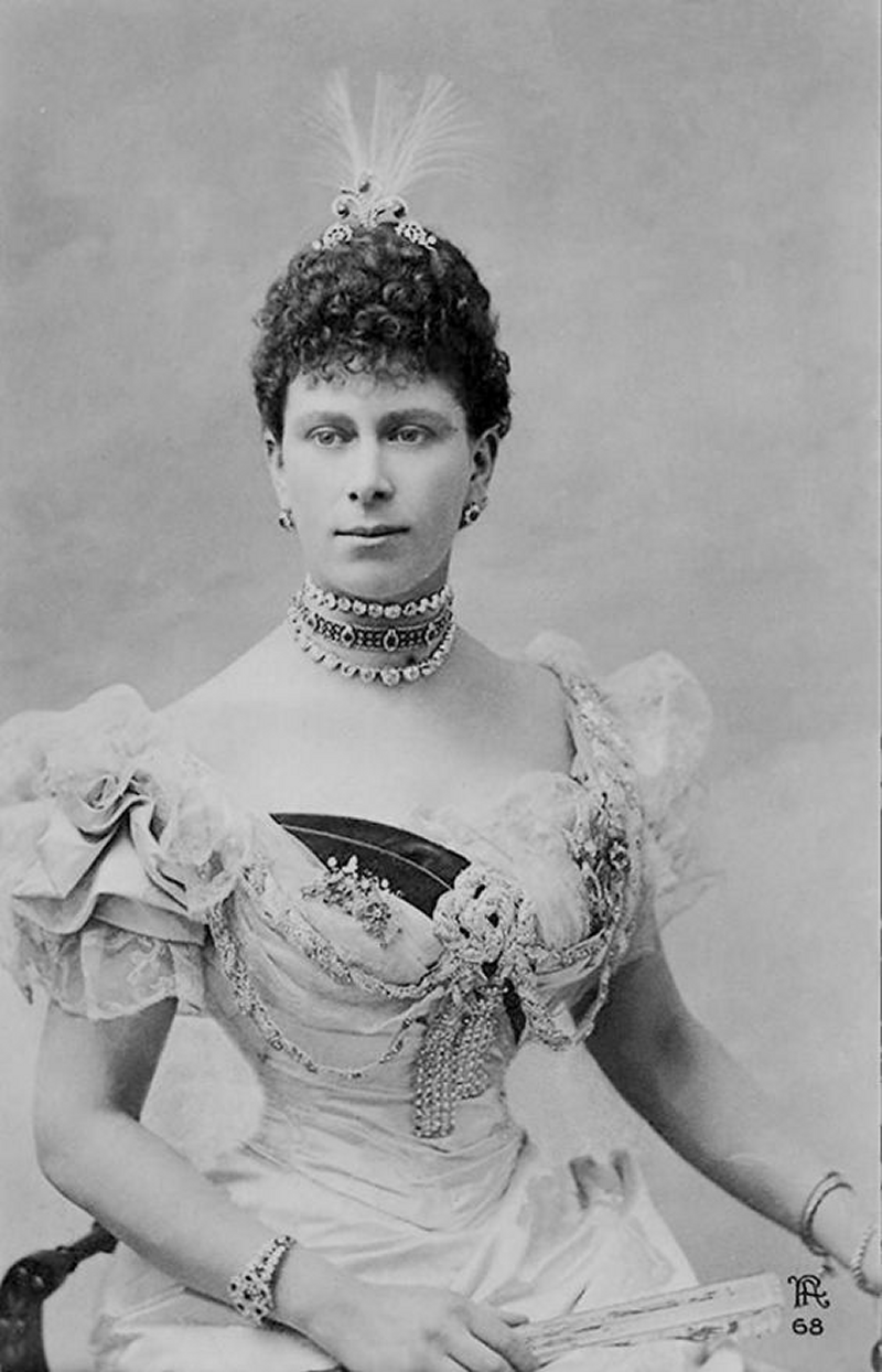 The Duchess of York wears rubies, including the Rose of York Bracelet, ca. 1890s