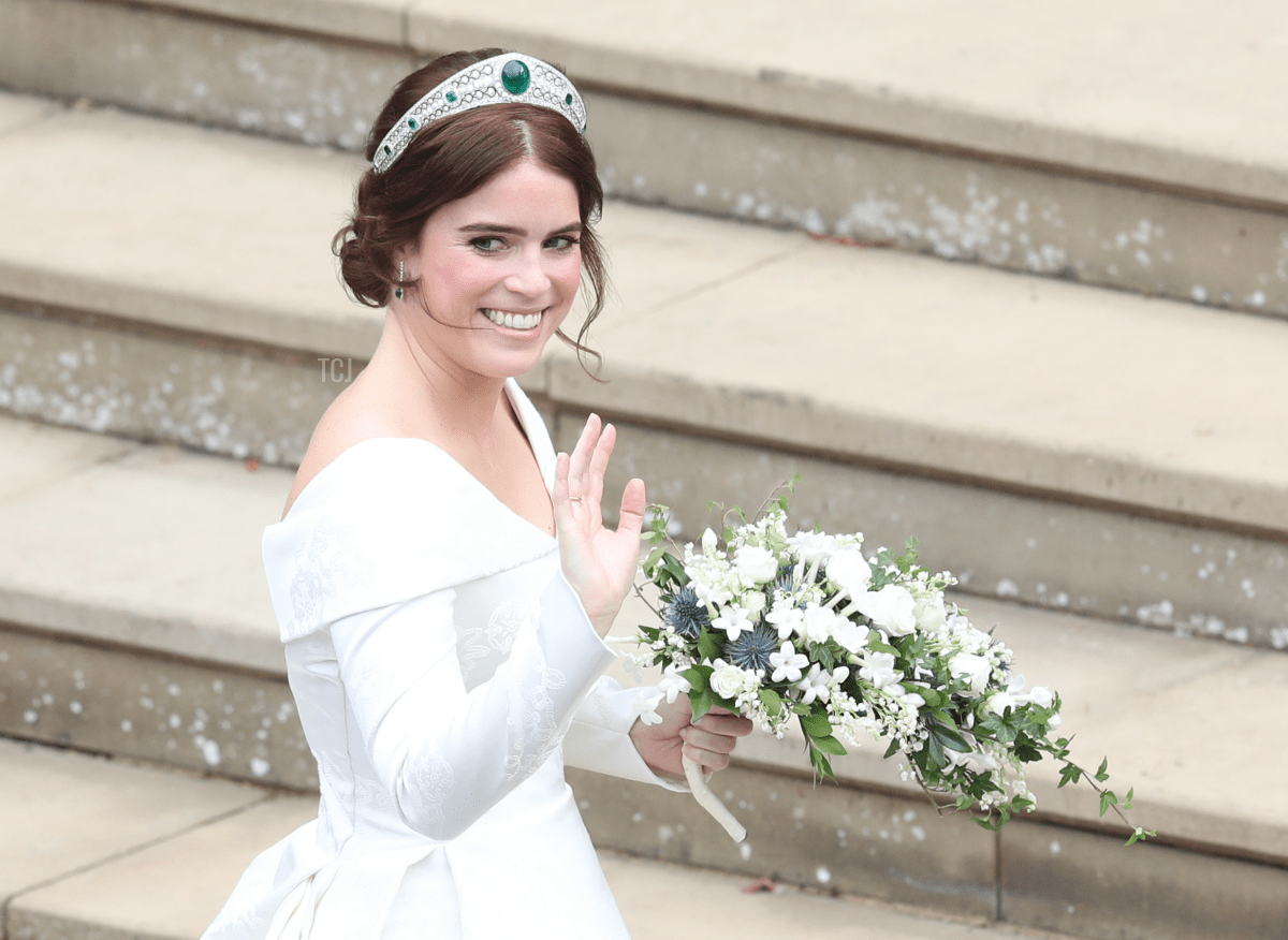 Princess Eugenie of York arrives to be wed to Mr. Jack Brooksbank at St. George's Chapel on October 12, 2018 in Windsor