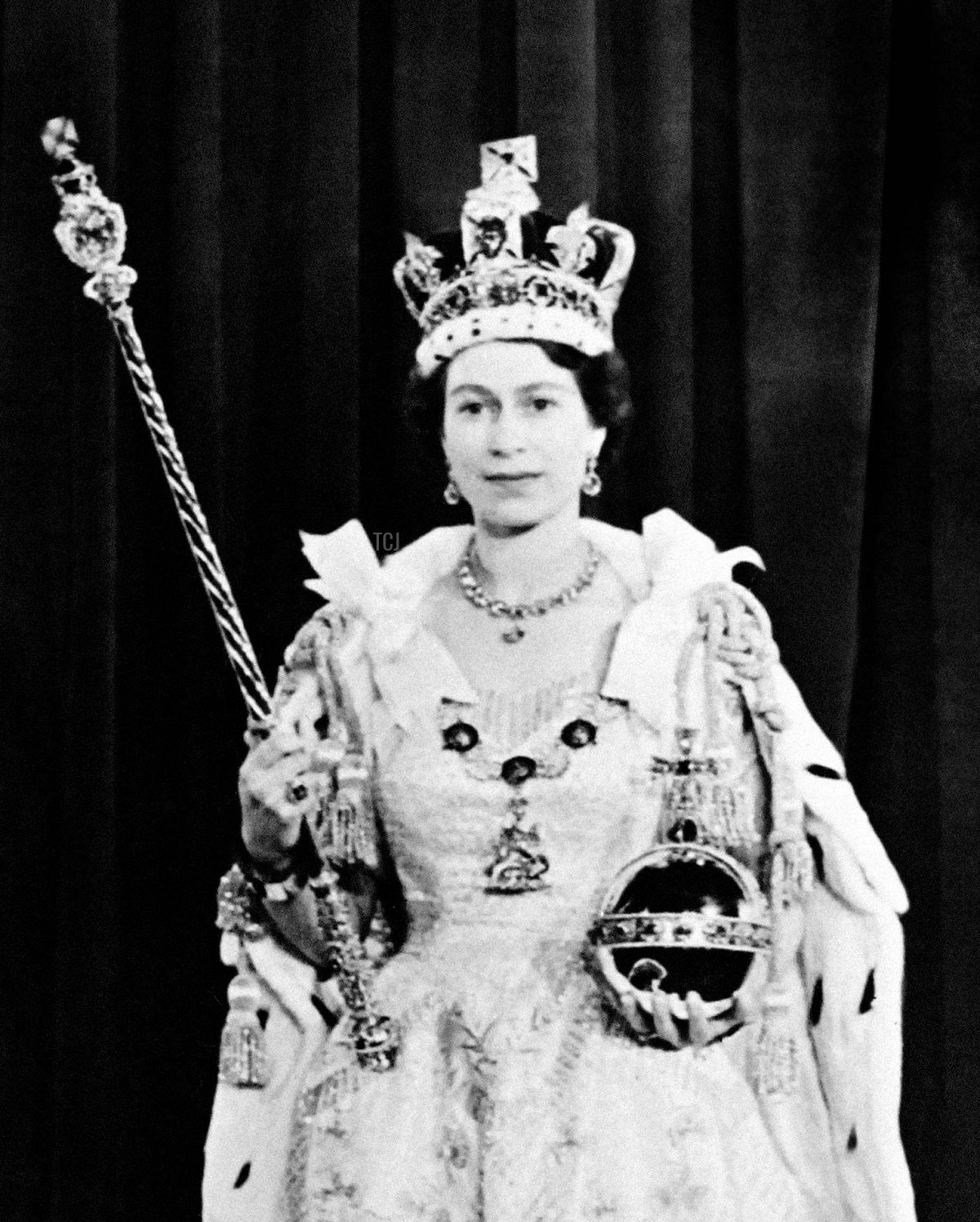 Portrait taken on June 2, 1953 shows Britain Queen Elizabeth II during her coronation, which was the first to be televised
