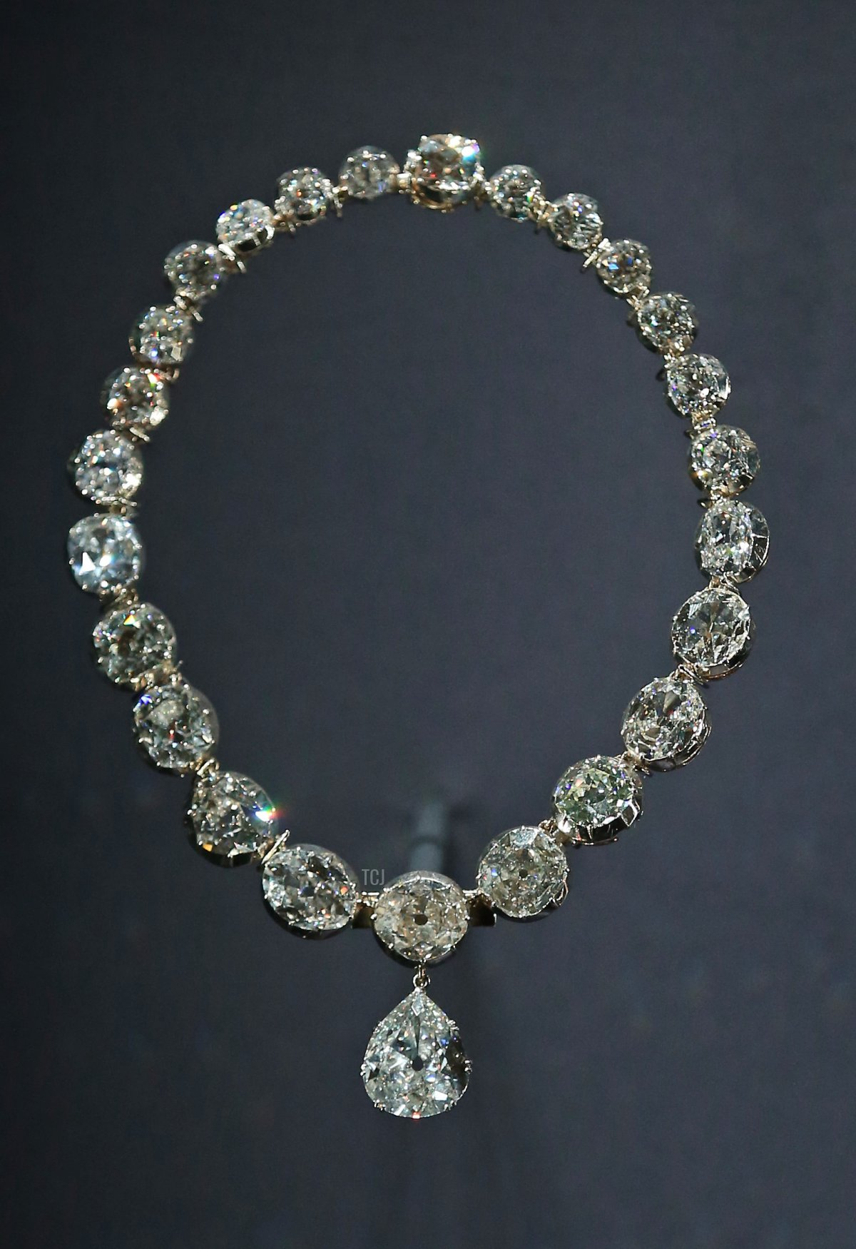 The Coronation Necklace is displayed at The Royal Welcome Summer opening at Buckingham Palace on July 23, 2015 in London