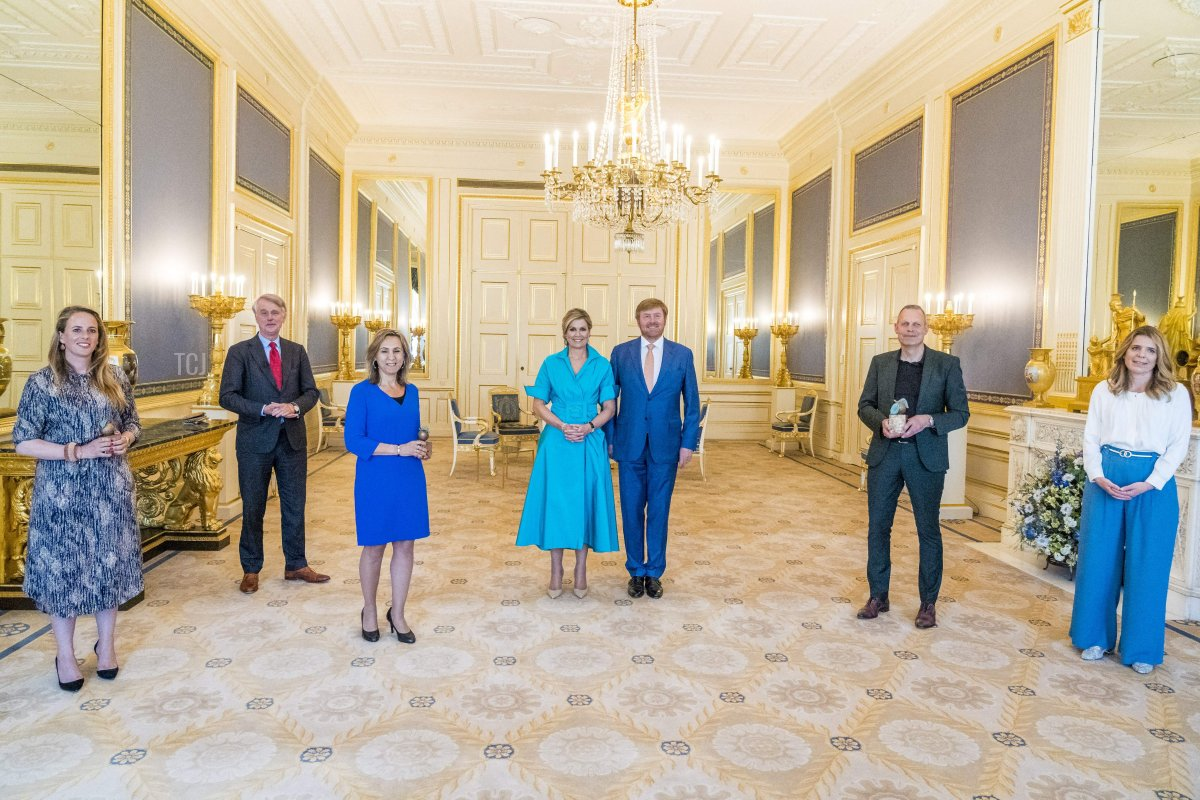 King Willem-Alexander and Queen Maxima at the presentation of the Appeltjes van Oranje prize at Noordeinde Palace in The Hague on June 1, 2021