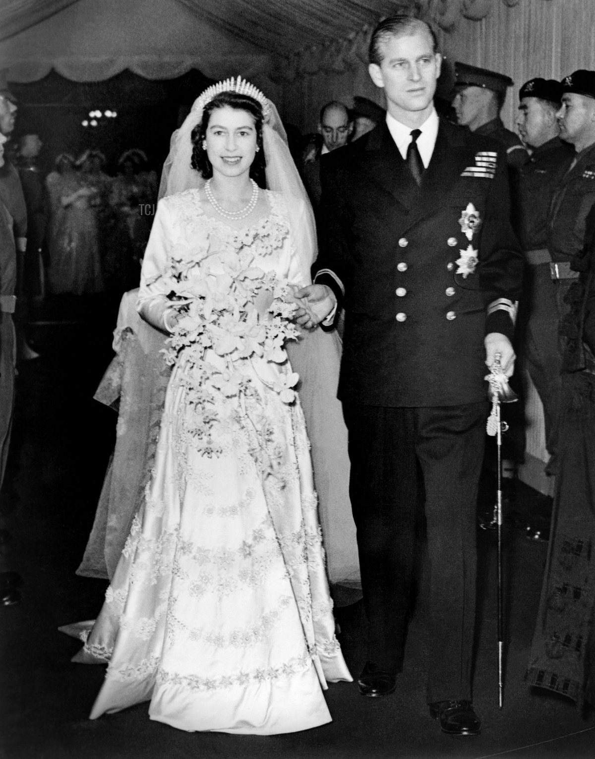 Princess Elizabeth of England and Prince Philip are seen on their wedding day 20th November 1947, in London