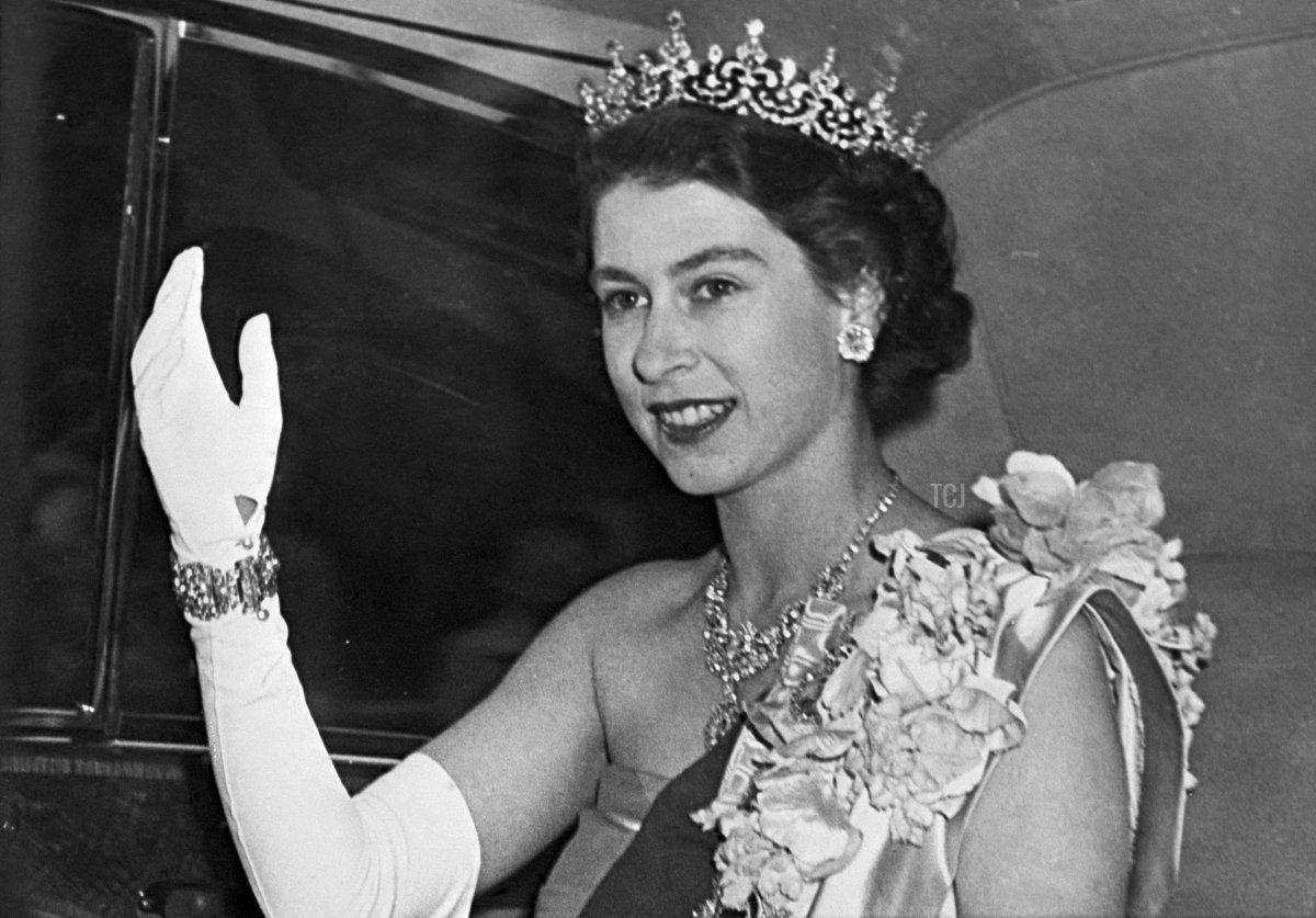 Portrait taken 07 June 1951 of the Princess Elizabeth of Great Britain, the future Queen, wearing a diamond tiara