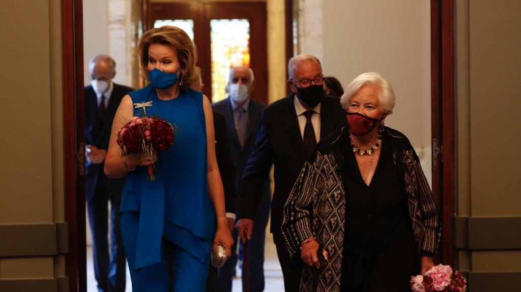 King Philippe of Belgium, Queen Mathilde, King Albert II and Queen Paola attend the closing concert of the 2021 Queen Elisabeth International Competition at the Palais des Beaux-Arts on June 09, 2021 in Brussels, Belgium. The concert will be given by the first three winners of the Competition and will be conducted by Stéphane Denève of the Brussels Philharmonic