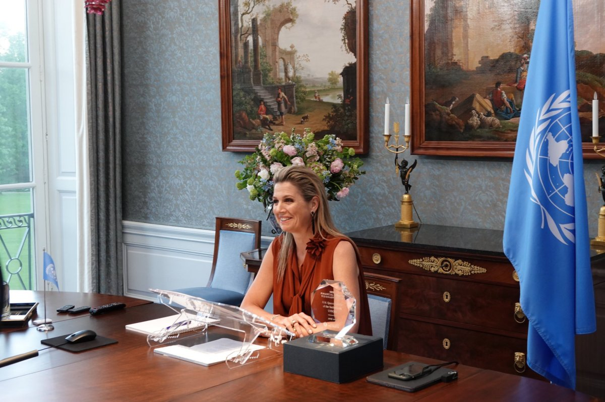 Queen Máxima virtually receives the Financial Health Visionary Award 2021. She receives the award for her work as the UN Secretary-General's Special Advocate for Inclusive Finance for Development on June 9