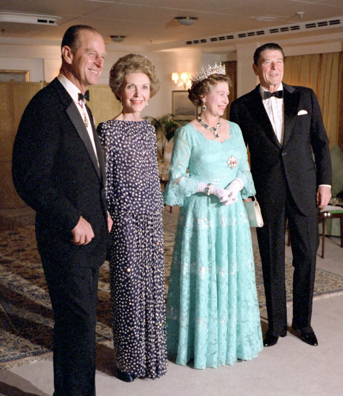 President Ronald Reagan Nancy Reagan Celebrating Thirty-First Wedding Anniversary with Queen Elizabeth and Prince Philip Aboard Her Majesty's Yacht Britannia