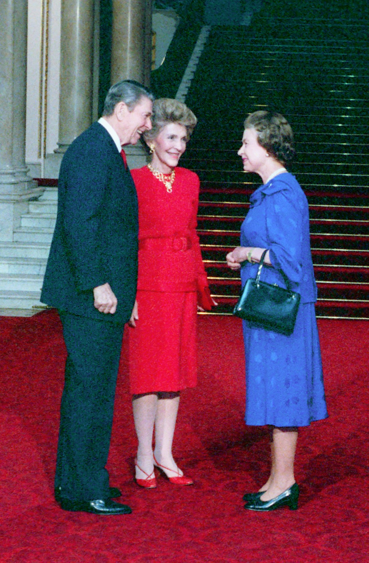 President Ronald Reagan and Nancy Reagan with Queen Elizabeth II During Visit to Buckingham Palace in London, 6/2/1988