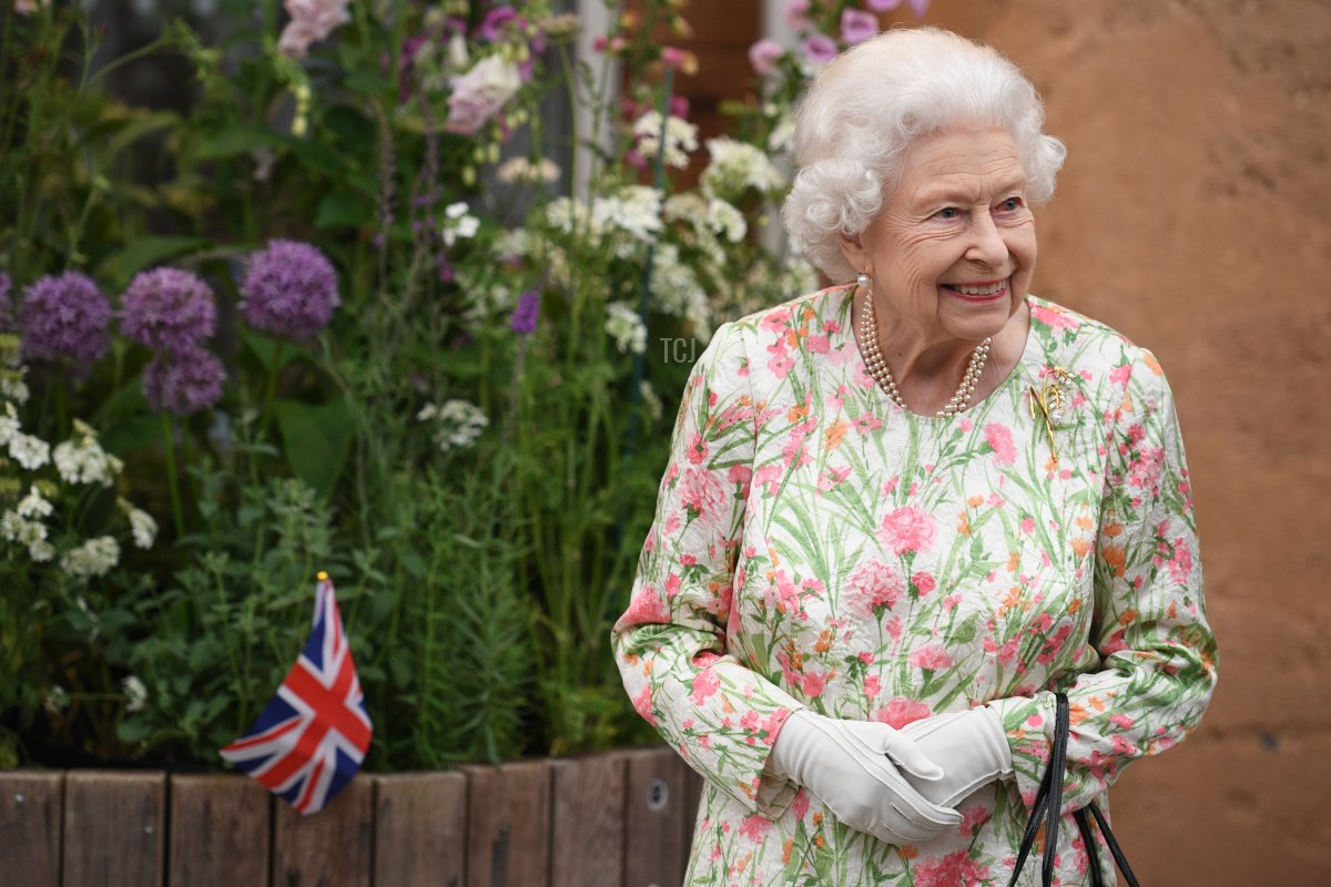 Queen Elizabeth II smiles as she meets people from communities across Cornwall during an event in celebration of The Big Lunch initiative at The Eden Project during the G7 Summit on June 11, 2021 in St Austell, Cornwall, England. UK Prime Minister, Boris Johnson, hosts leaders from the USA, Japan, Germany, France, Italy and Canada at the G7 Summit