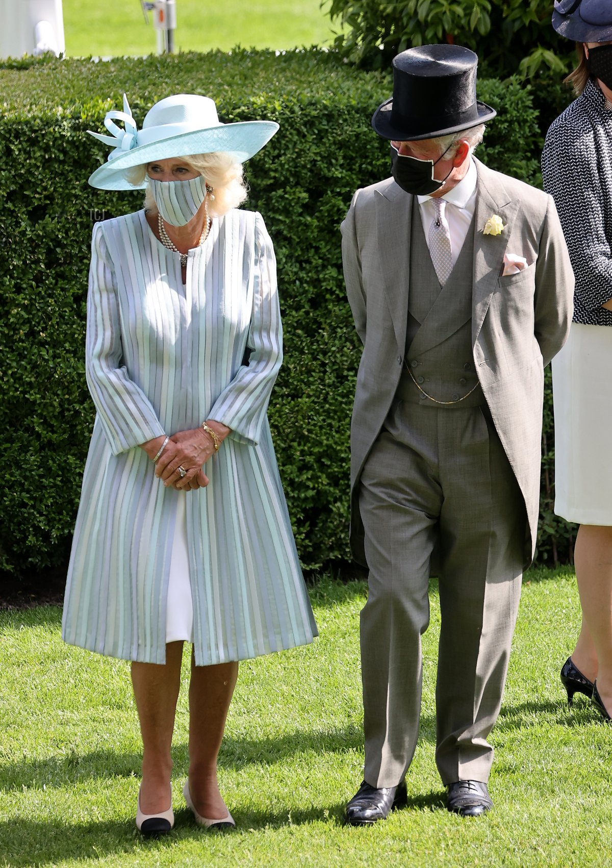 Camilla, Duchess of Cornwall and Prince Charles, Prince of Wales walk into the parade ring during Royal Ascot 2021 at Ascot Racecourse on June 15, 2021 in Ascot, England