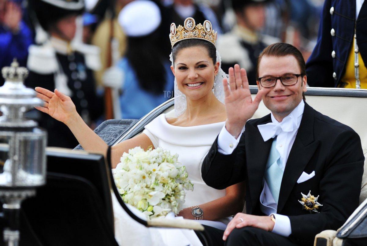 Crown Princess Victoria of Sweden, Duchess of Västergötland, and her husband Prince Daniel, Duke of Västergötland, are seen after their wedding ceremony on June 19, 2010 in Stockholm, Sweden