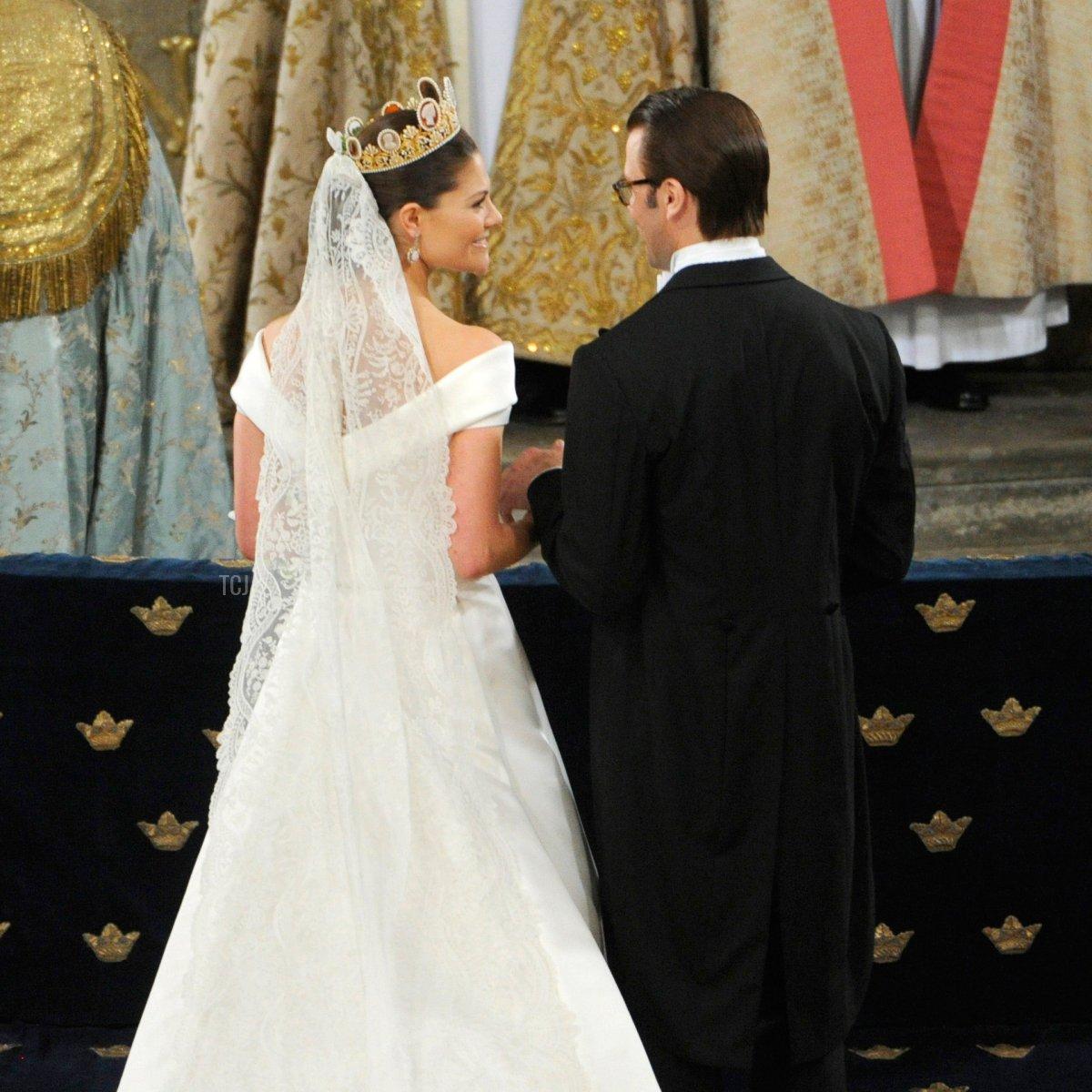 Crown Princess Victoria of Sweden, Duchess of Västergötland, and her husband Prince Daniel of Sweden, Duke of Västergötland, are seen during their wedding ceremony on June 19, 2010 in Stockholm, Sweden