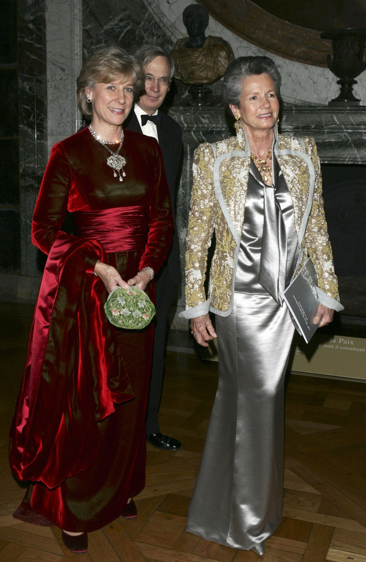 The Duchess of Gloucester, her husband Duke of Gloucester, and Anne-Aymone Giscard d'Estaing attend the Child Abuse Foundation Gala at the Castle of Versailles on December 6, 2004 in Versailles, France