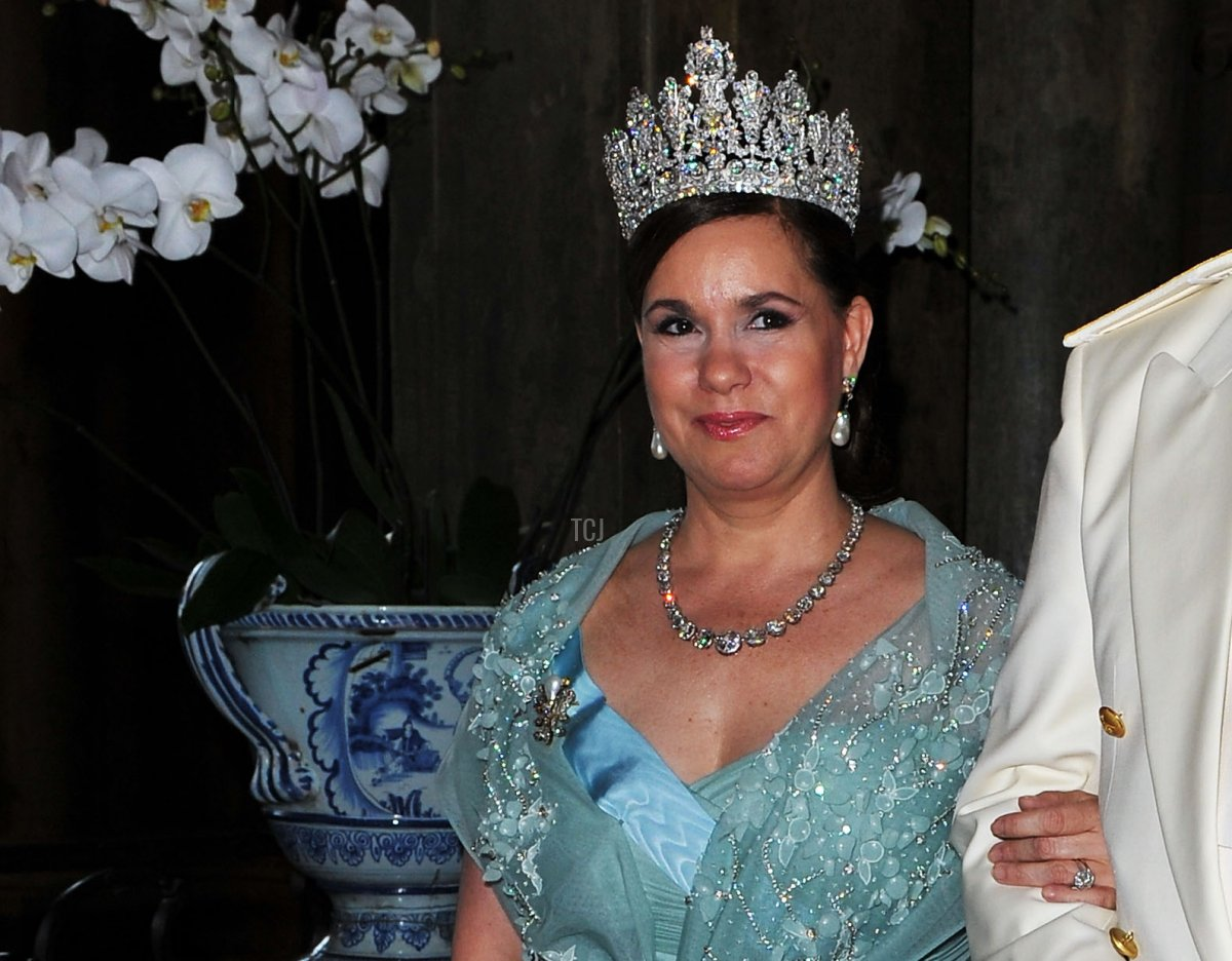 Prince Albert of Monaco sits next to Duchess Maria Teresa of Luxembourg during the Wedding Banquet for Crown Princess Victoria of Sweden and her husband prince Daniel at the Royal Palace on June 19, 2010 in Stockholm, Sweden
