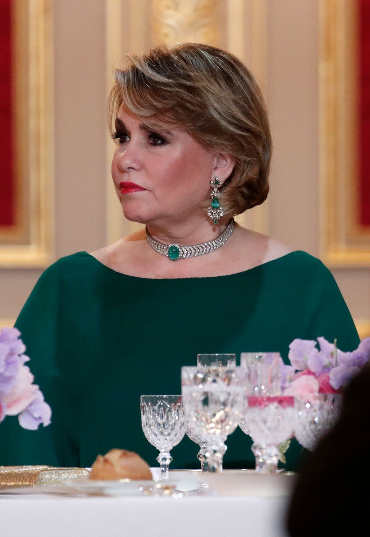 Maria Teresa, Grand Duchess of Luxembourg, attends a State dinner held at the Elysee Palace in Paris, on March 19, 2018