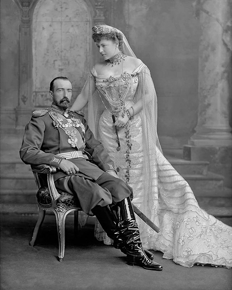 Grand Duke Michael Mikailovich and his wife, Countess Sophie of Merenberg, August 1902