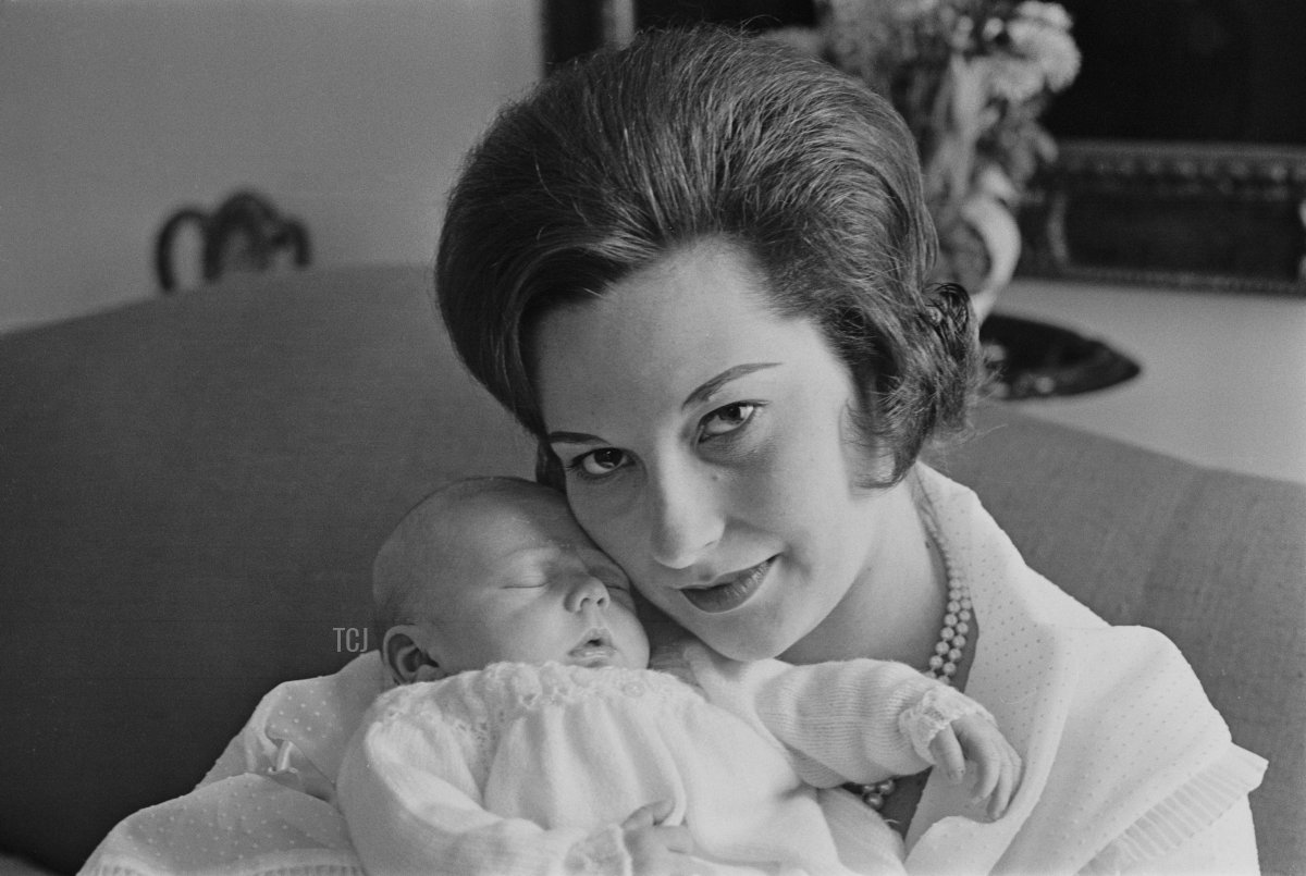 Janet Bryce, Lady Milford Haven pictured with her newborn son Ivar Mountbatten in London on 20th March 1963