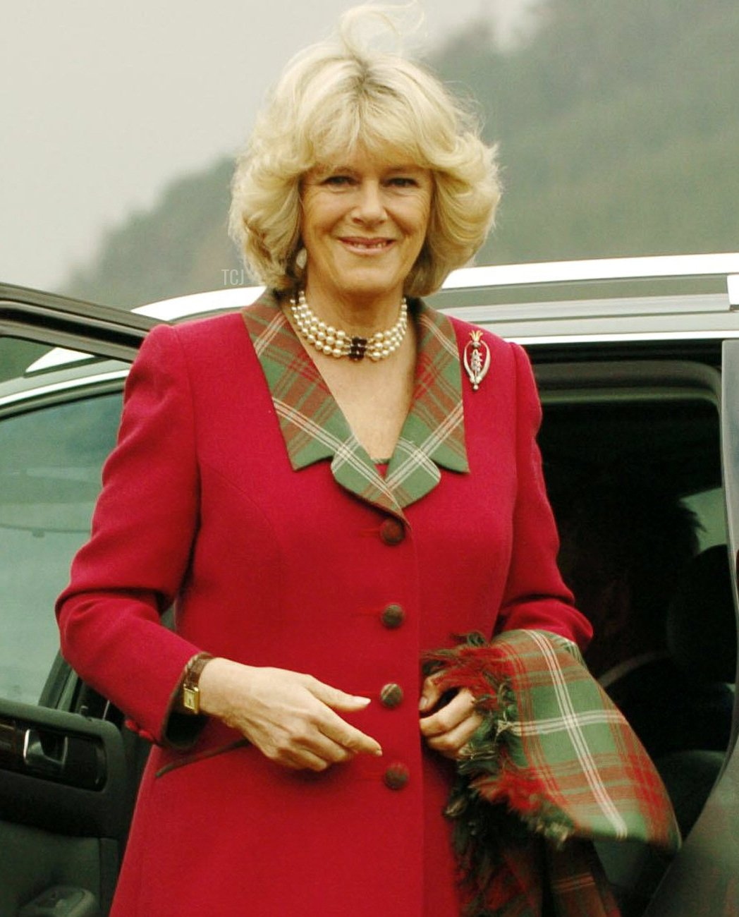 The Duchess of Cornwall arrives for the opening of a new play park 14 April, 2005, in Ballater, Aberdeenshire