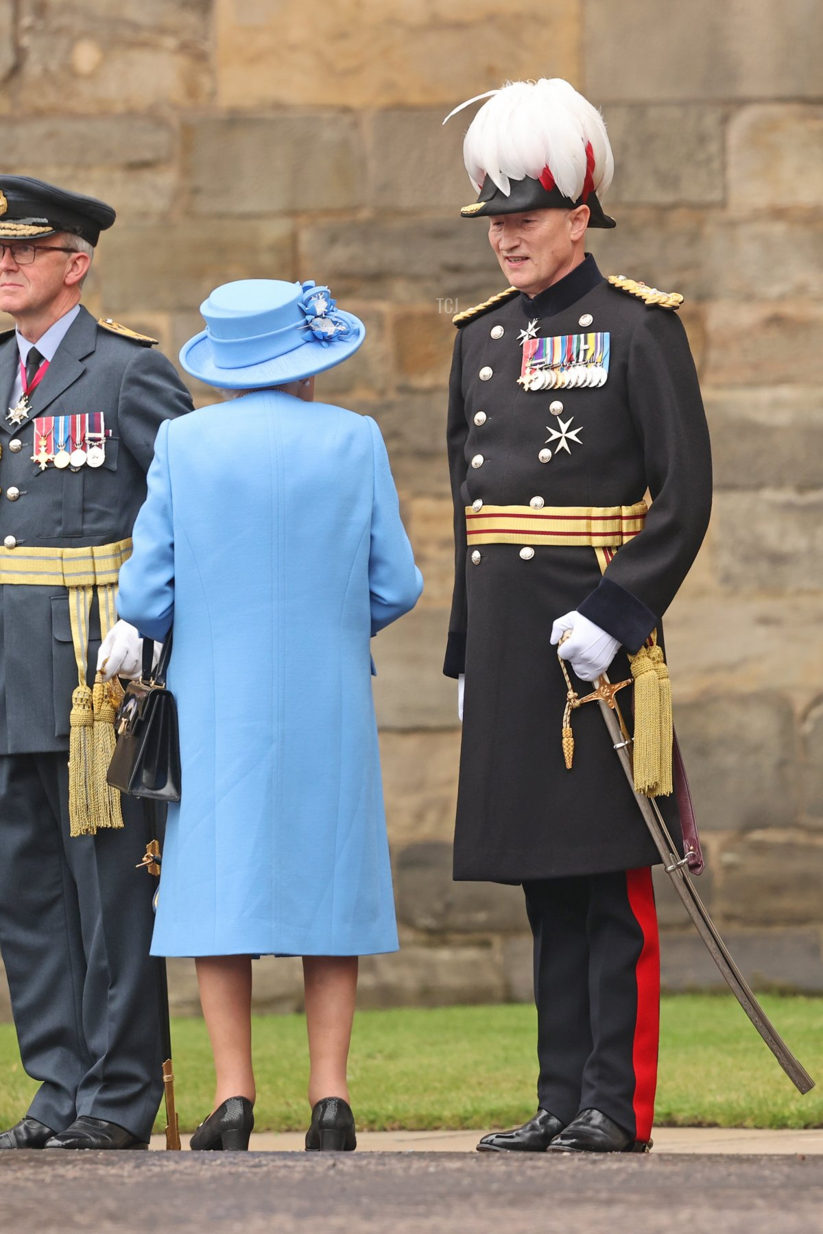 Queen Elizabeth II and Governor of Edinburgh Castle, Major General Alastair Bruce of Crionaich attend The Palace Of Holyrood house on June 28, 2021 in Edinburgh, Scotland