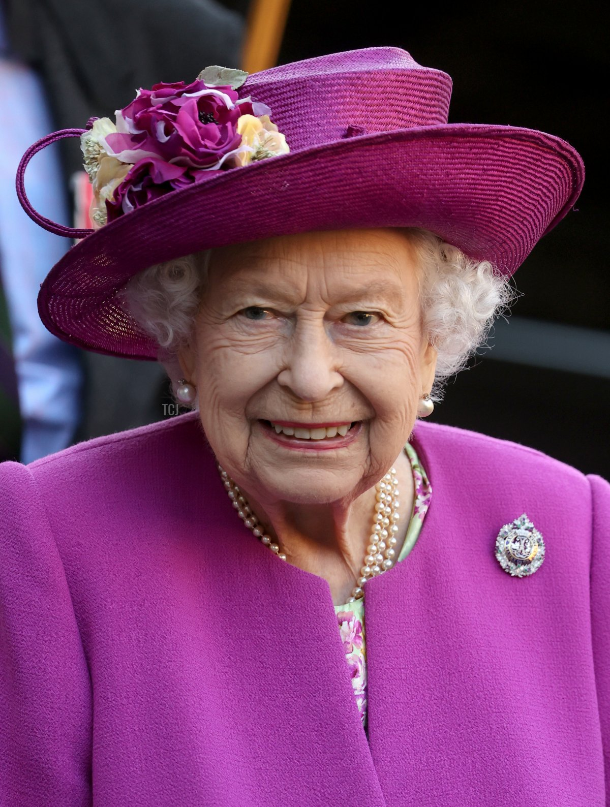 Queen Elizabeth II departs after opening the Argyll and Sutherland Highlanders' Museum during a visit to Stirling Castle on June 29, 2021 in Stirling, Scotland
