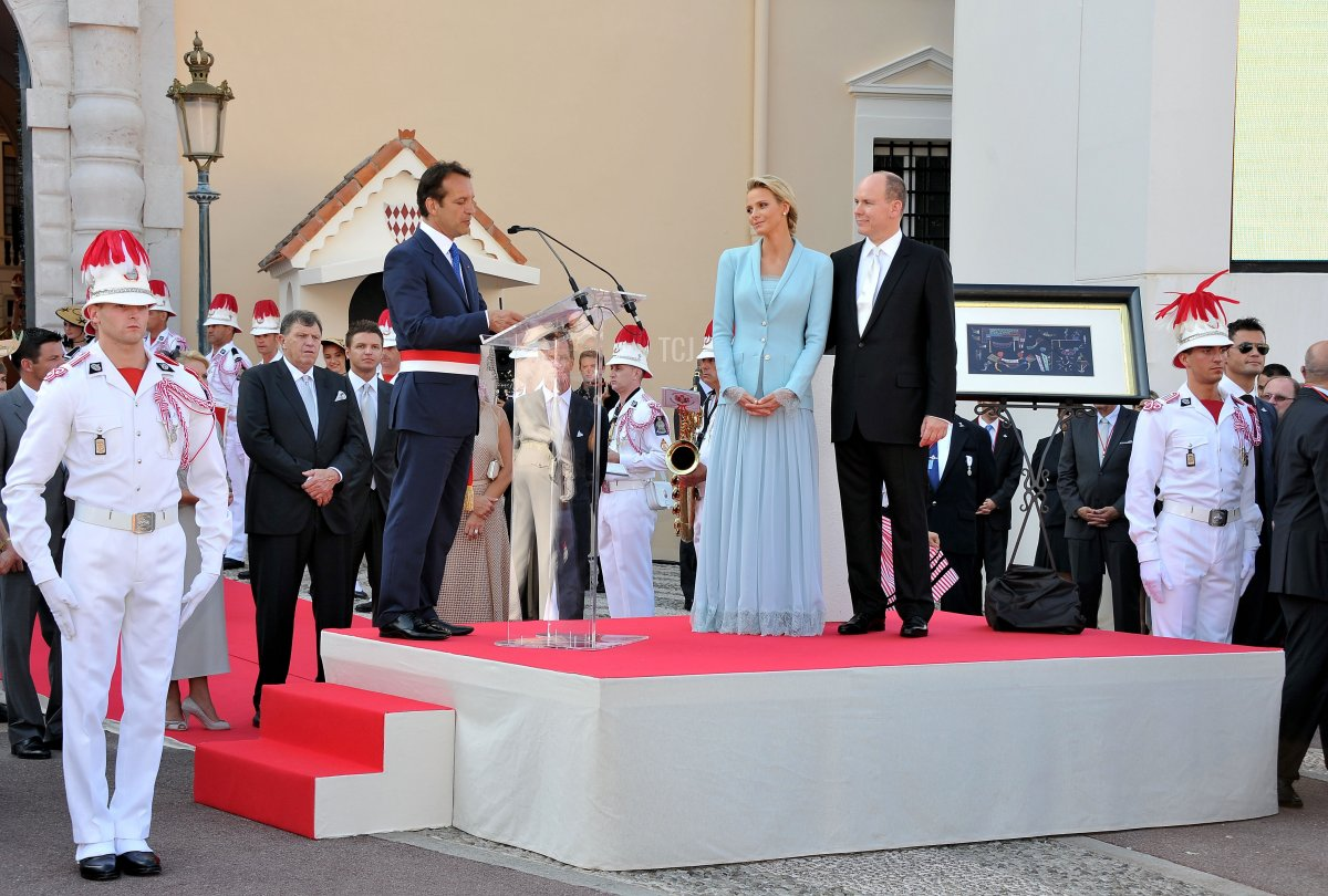 Georges Marsan, Mayor of Monaco delivers a speech as Princess Charlene of Monaco and Prince Albert II of Monaco look on after the civil ceremony of the Royal Wedding of Prince Albert II of Monaco to Charlene Wittstock at the Prince's Palace on July 1, 2011 in Monaco