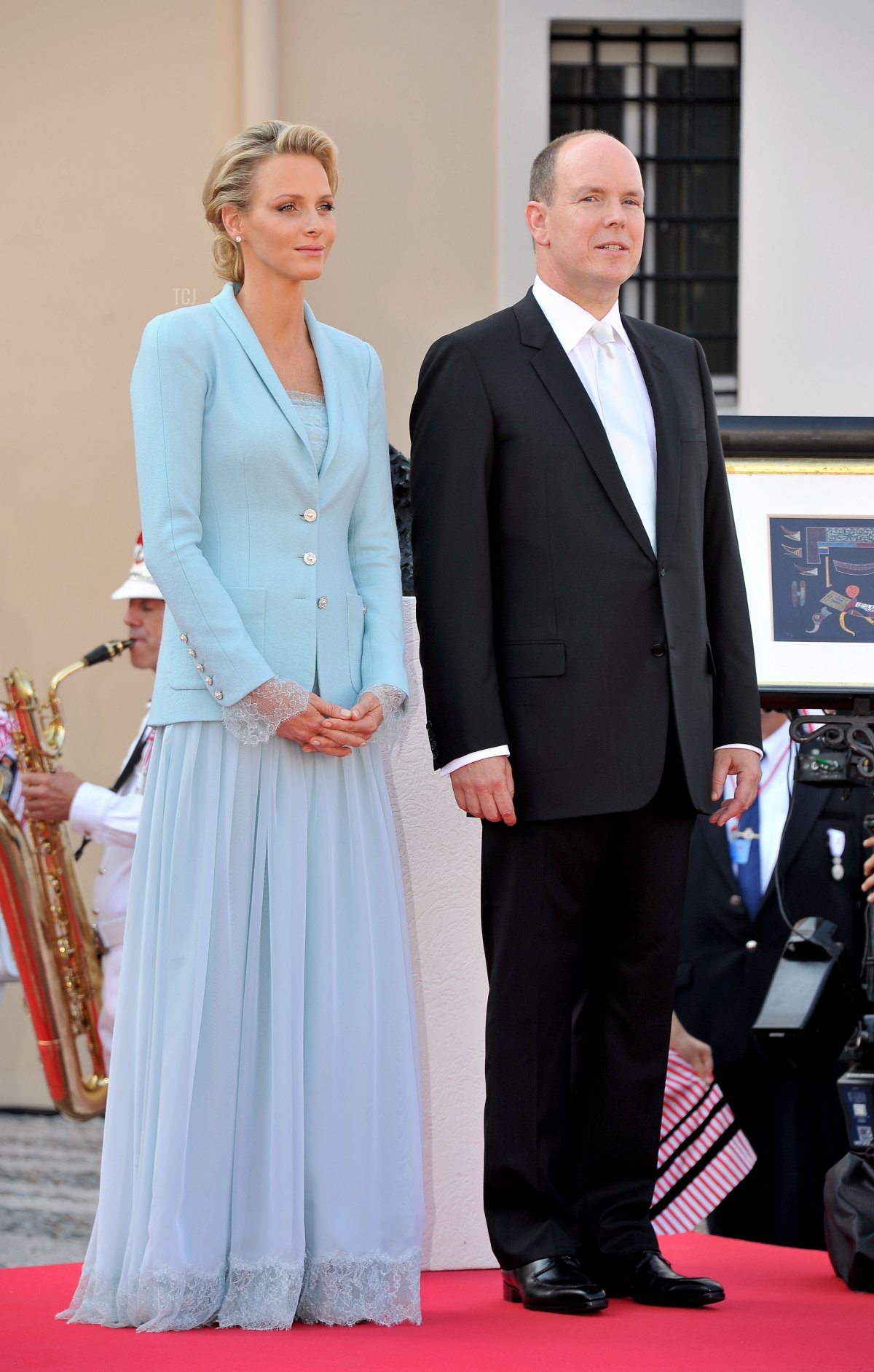 Princess Charlene of Monaco and Prince Albert II of Monaco look on after the civil ceremony of the Royal Wedding of Prince Albert II of Monaco to Charlene Wittstock at the Prince's Palace on July 1, 2011 in Monaco