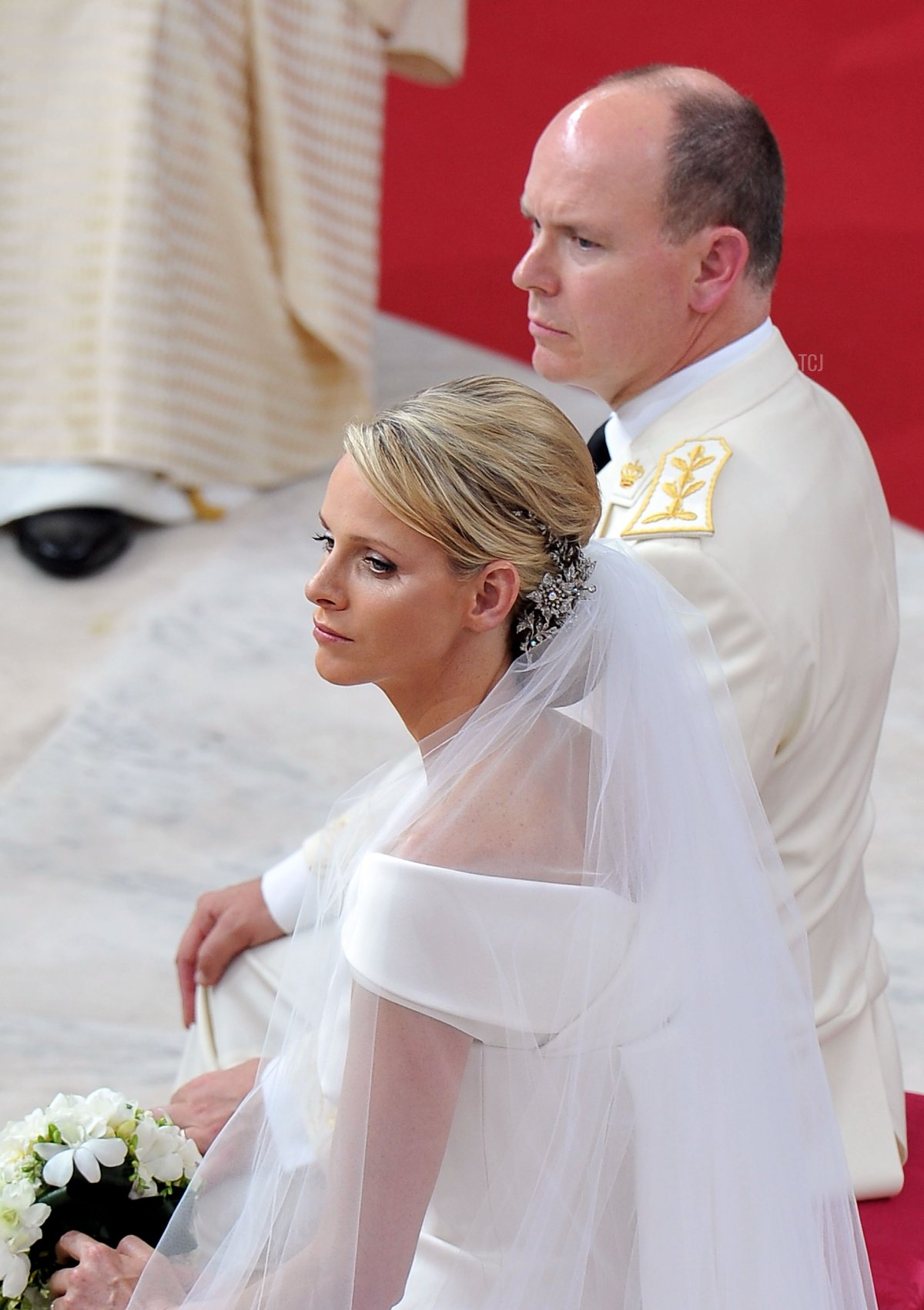 Princess Charlene of Monaco and Prince Albert Of Monaco arrive for the religious ceremony of the Royal Wedding of Prince Albert II of Monaco to Charlene Wittstock in the main courtyard at Prince's Palace on July 2, 2011 in Monaco