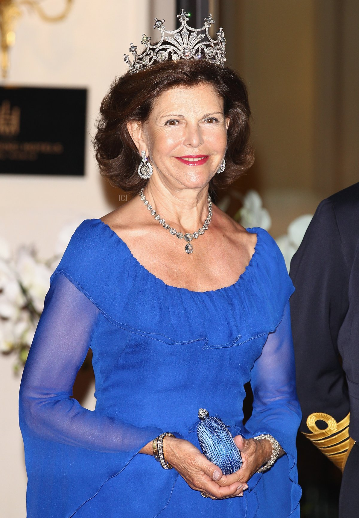 Queen Silvia of Sweden leaves the Hotel Hermitage to attend a dinner at Opera terraces after the religious wedding ceremony of Prince Albert II of Monaco and Princess Charlene of Monaco on July 2, 2011 in Monaco