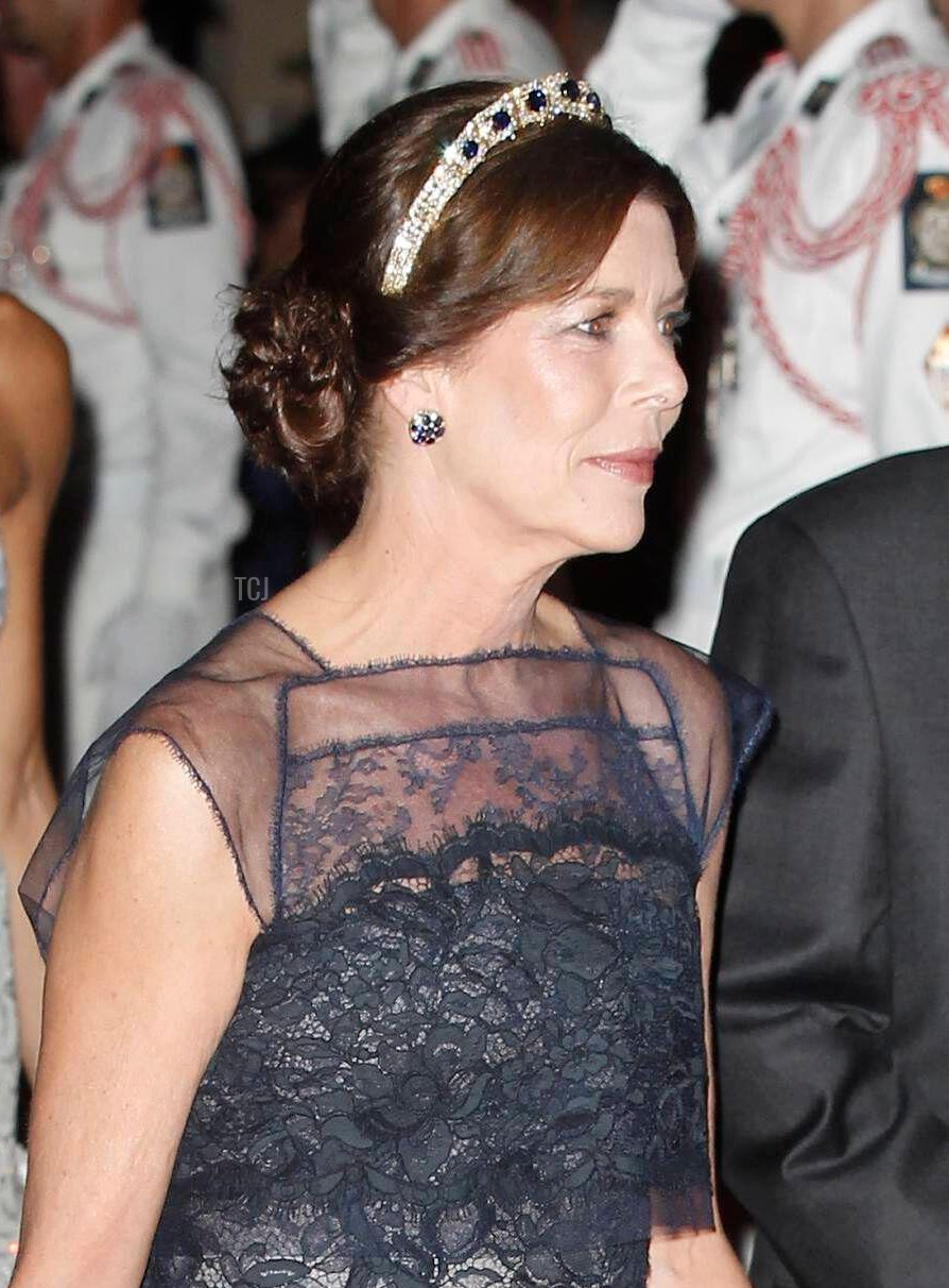 Princess Caroline of Hanover arriving for the official dinner following the religious wedding of Prince Abert II of Monaco to Charlene Wittstock at Monte-Carlo Opera House in Monaco on July 2, 2011