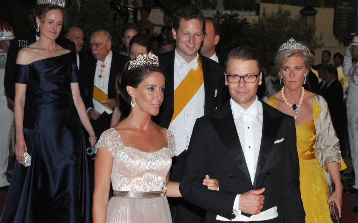 Prince Daniel of Sweden and Danish Princess Marie attend the official dinner on the Opera terraces after the religious wedding of Prince Albert II and Princess Charlene of Monaco in Monaco, 02 July 2011