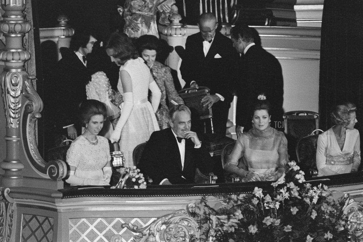 Princess Anne, Prince Rainier III of Monaco (1923-2005) and Princess Grace of Monaco (1929-1982) at the Opera de Monte-Carlo in Monte-Carlo, Monaco, 7th July 1972