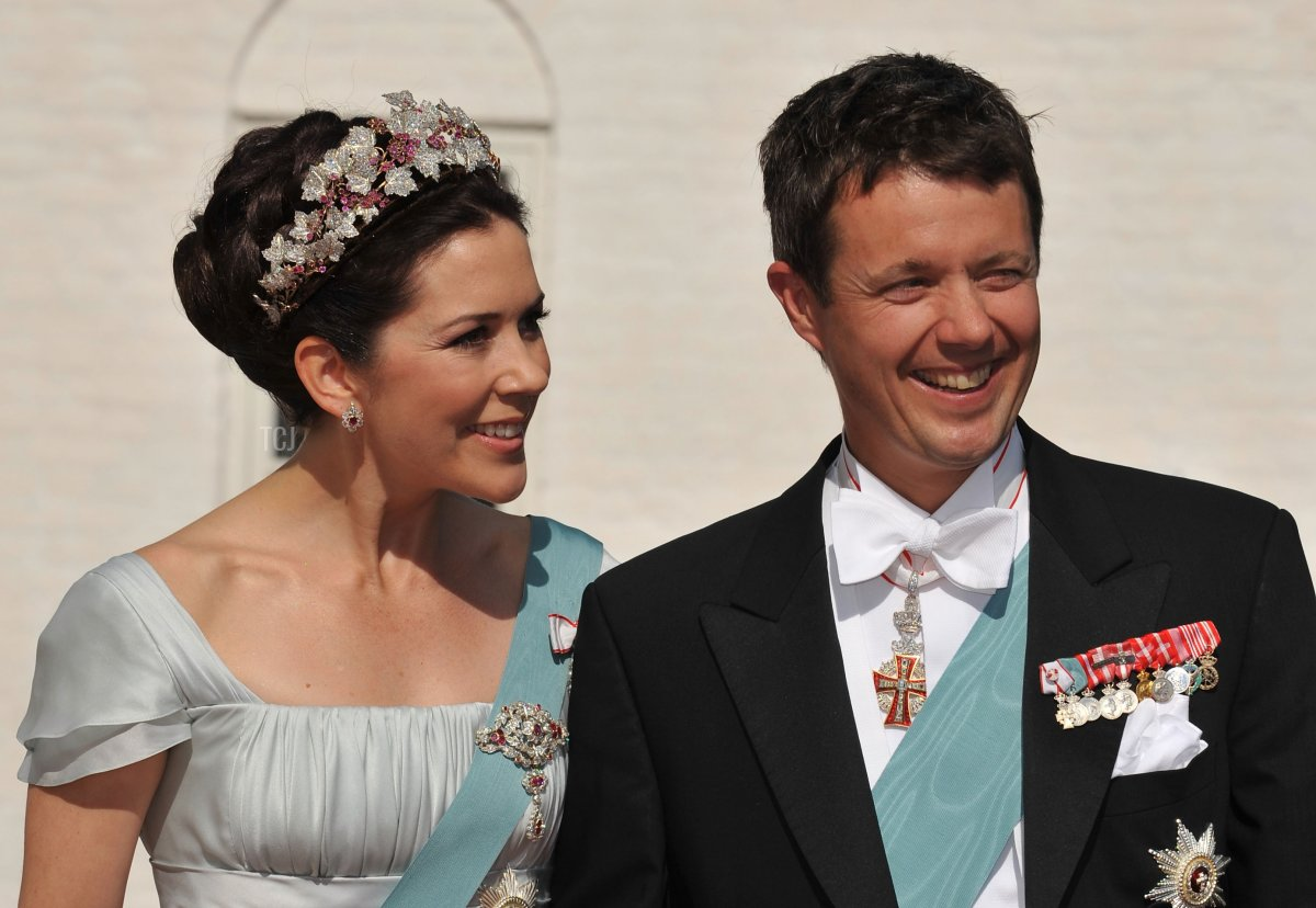 Crown Prince Frederik and Crown Princess Mary of Denmark arrive to attend the wedding between his brother Prince Joachim of Denmark and Marie Cavallier on May 24, 2008 at the Mogeltonder church in Mogeltonder, Denmark
