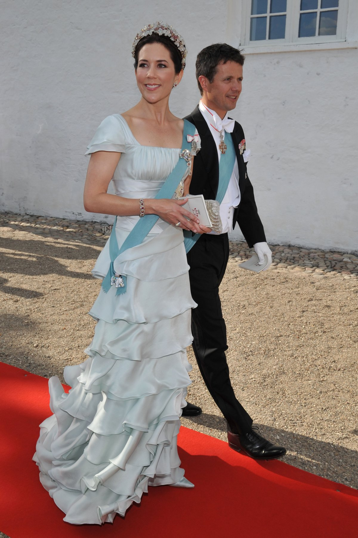 Crown Princess Mary of Denmark attends the wedding between Prince Joachim of Denmark and Marie Cavallier on May 24, 2008 at the Mogeltonder church in Mogeltonder, Denmark