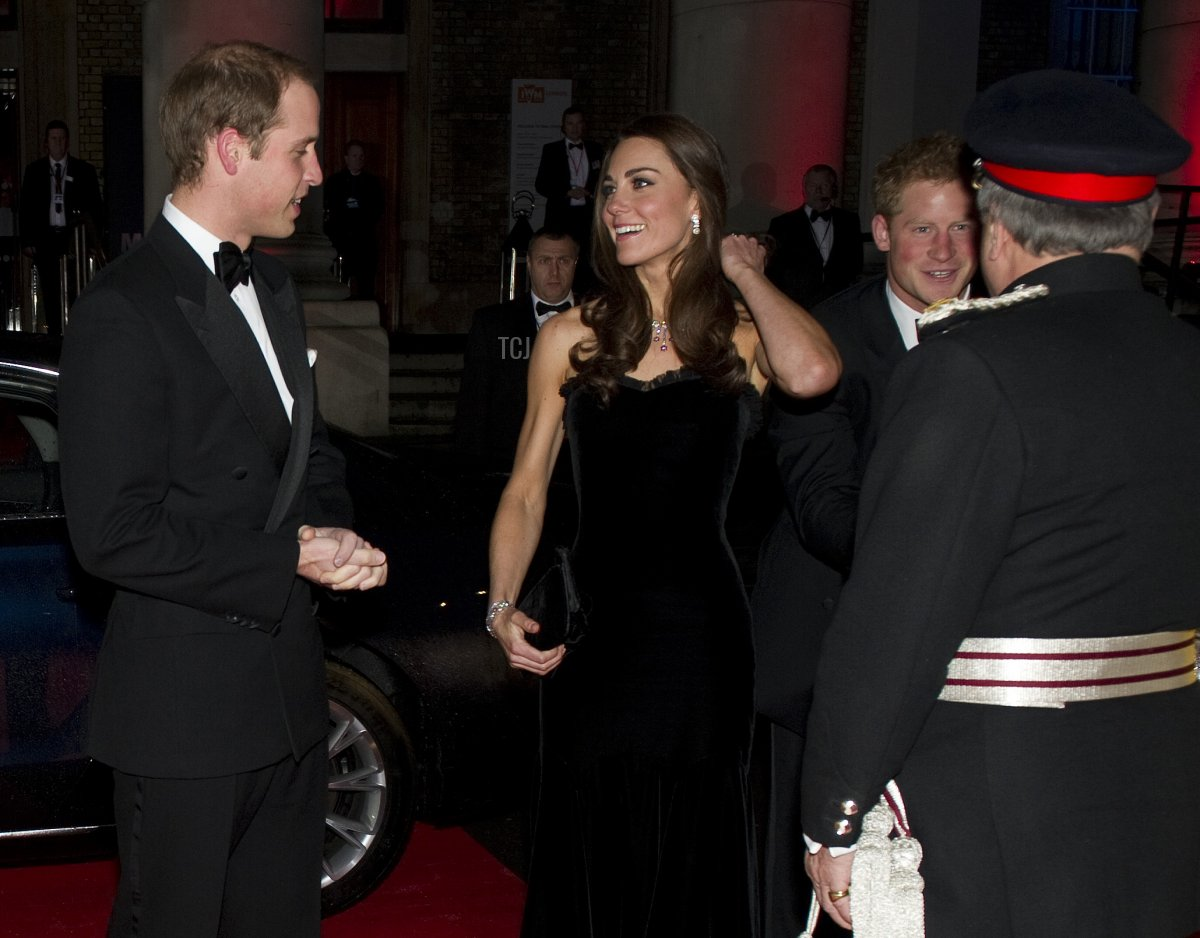 Prince William, Duchess of Cambridge and Prince Harry arrive at the 2011 Sun Military Awards at Imperial War Museum on December 19, 2011 in London