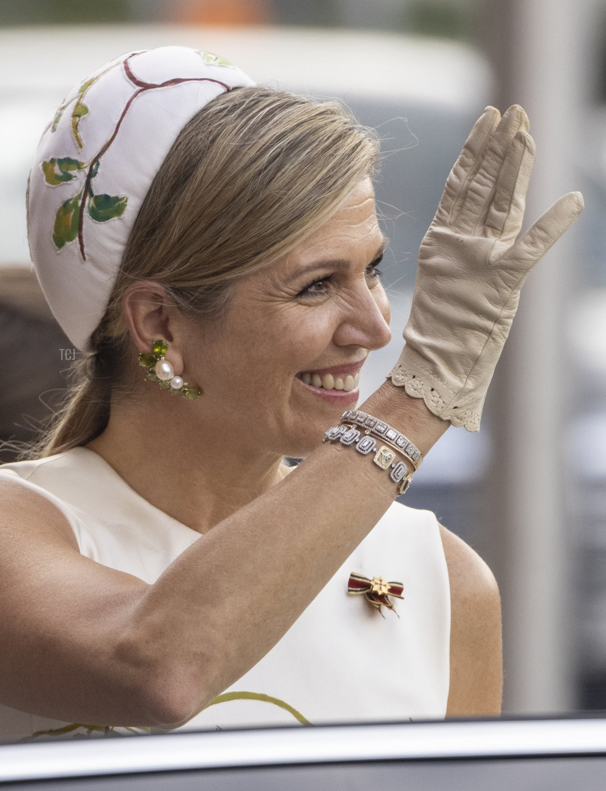 Queen Maxima of the Netherlands waves to the crowd outside the Rotes Rathaus, town hall of Berlin on July 05, 2021 in Berlin, Germany