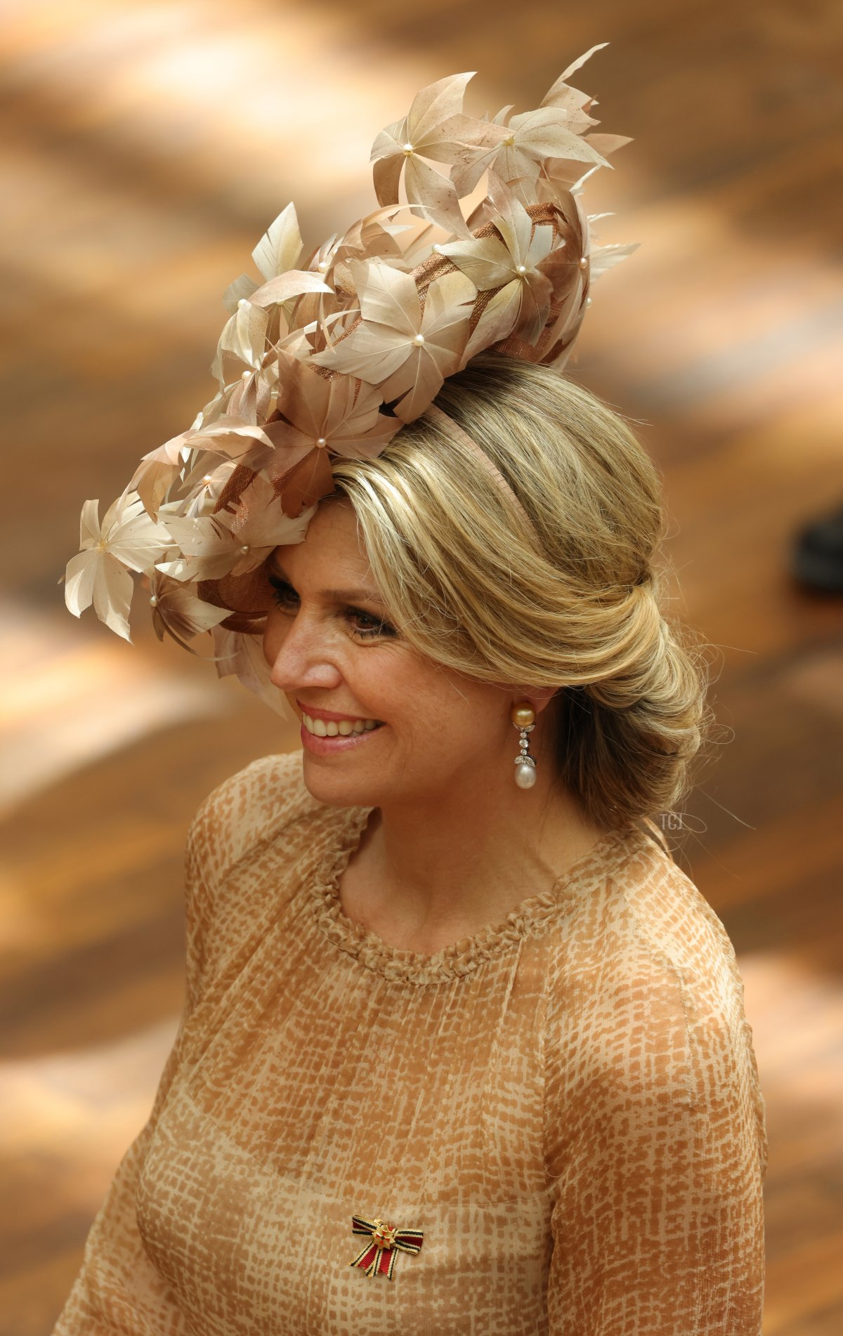 Queen Maxima of the Netherlands wears a leafy hat as she and King Willem-Alexander attend a session of the Bundesrat in their honour on July 06, 2021 in Berlin, Germany