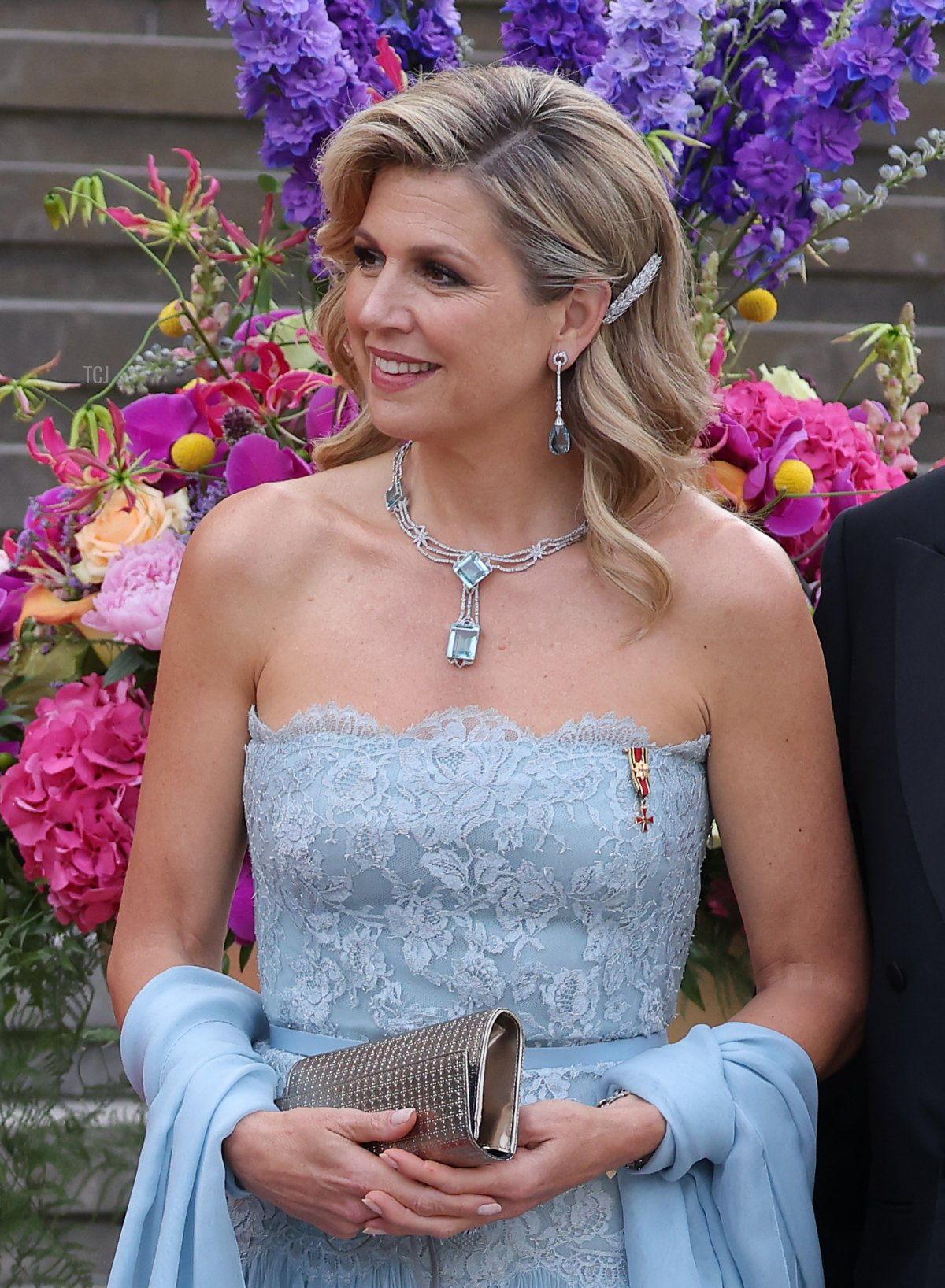 King Willem-Alexander and Queen Maxima of the Netherlands (R) and German President Frank-Walter Steinmeier and First Lady Elke Buedenbender arrive at the Konzerthaus am Gendarmenmarkt on July 06, 2021 in Berlin, Germany