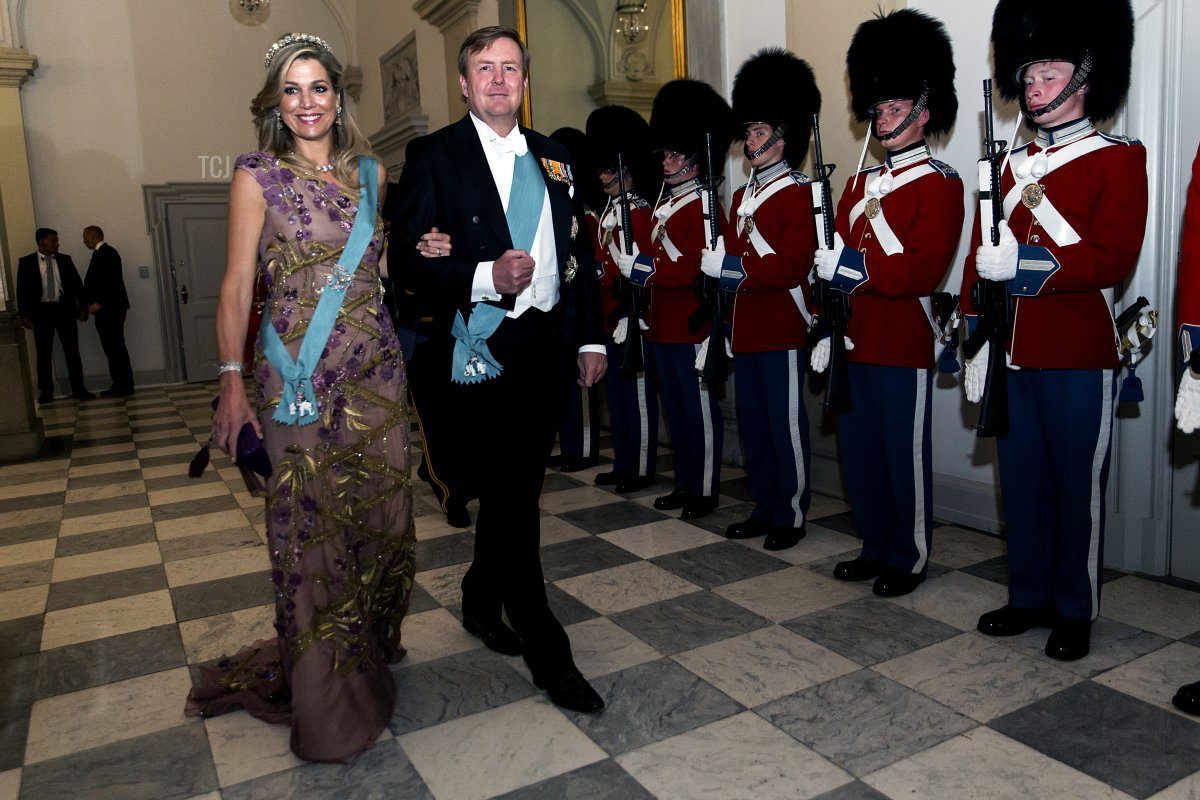 King Willem Alexander of the Nederlands and wife Queen Maxima arrive to the gala banquet on the occasion of The Crown Prince's 50th birthday at Christiansborg Palace on May 26, 2018 in Copenhagen, Denmark