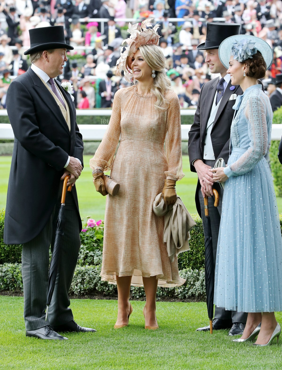 King Willem-Alexander of The Netherlands, Queen Maxima of The Netherlands, Prince William, Duke of Cambridge and Catherine, Duchess of Cambridge attend day one of Royal Ascot at Ascot Racecourse on June 18, 2019 in Ascot, England