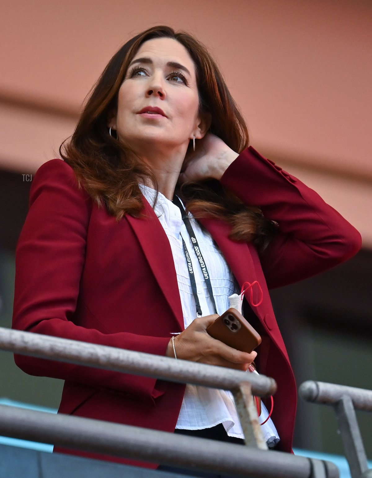 Mary Elizabeth, Crown Princess of Denmark looks on prior to the UEFA Euro 2020 Championship Semi-final match between England and Denmark at Wembley Stadium on July 07, 2021 in London, England
