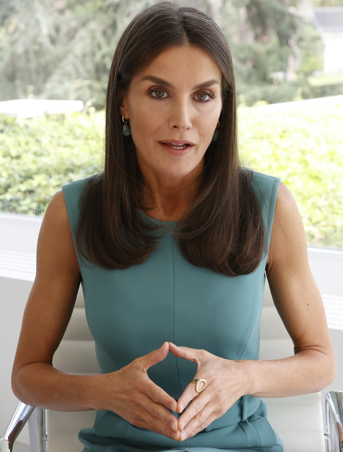 Queen Letizia of Spain speaks on a digital intervention at United Nations High Level Forum about the challenges of people living with rare diseases, on July 07, 2021 in Madrid, Spain