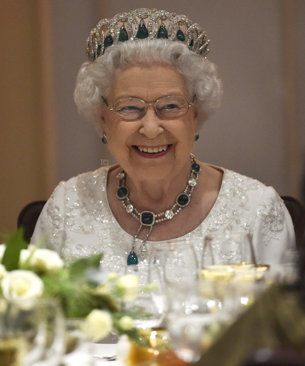 Queen Elizabeth II smiles as she attends a dinner at the Corinthia Palace Hotel in Attard during the Commonwealth Heads of Government Meeting (CHOGM) on November 27, 2015 near Valletta, Malta