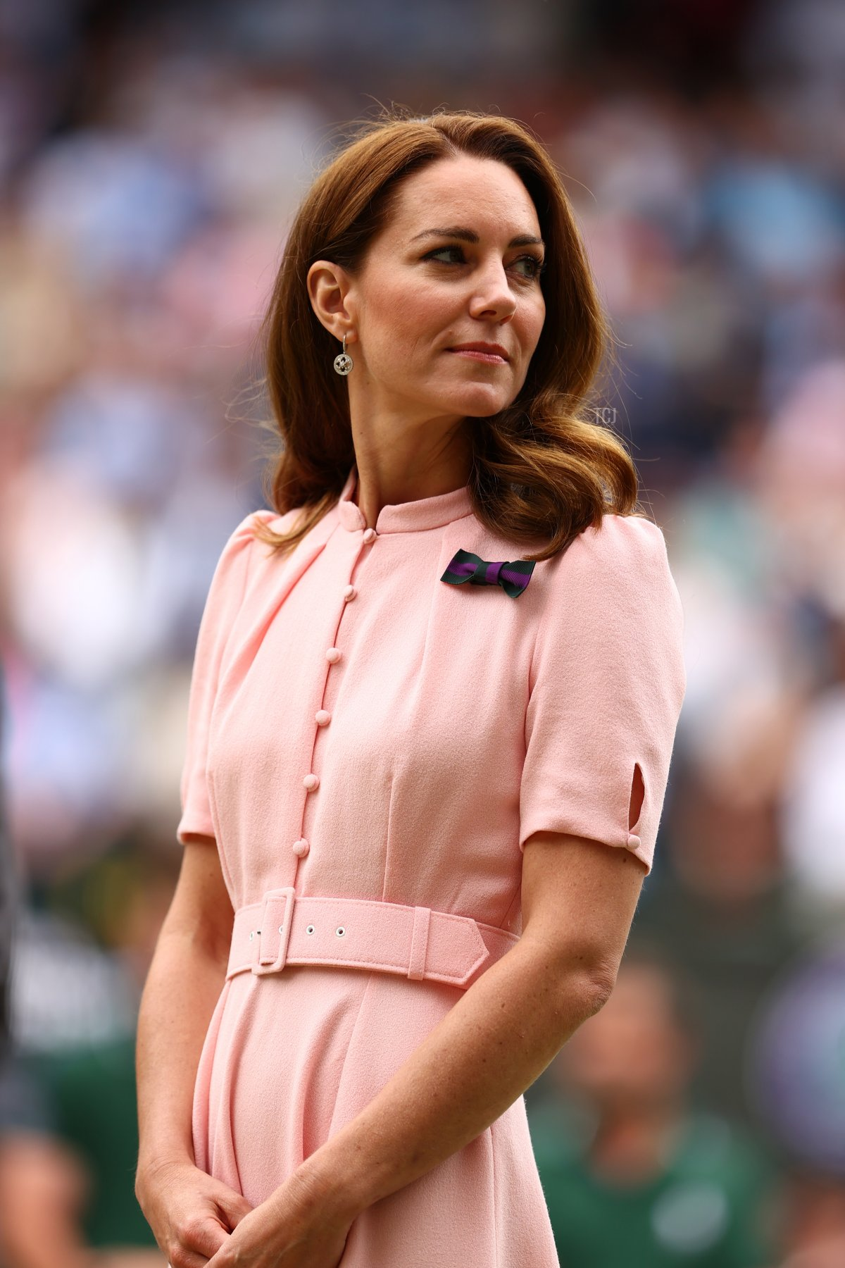 HRH Catherine, Duchess of Cambridge looks on after the men's Singles Final match between Novak Djokovic of Serbia and Matteo Berrettini of Italy on Day Thirteen of The Championships - Wimbledon 2021 at All England Lawn Tennis and Croquet Club on July 11, 2021 in London, England