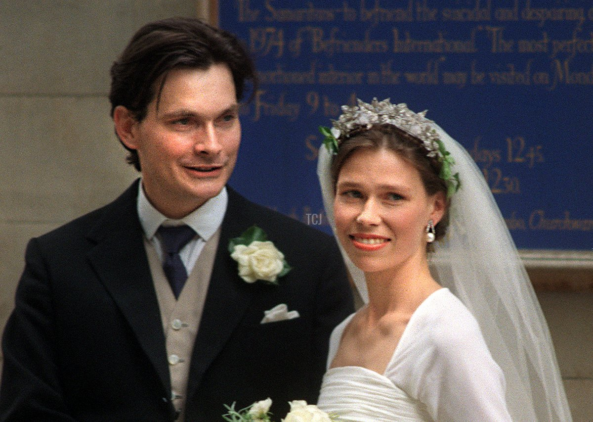 Bride Sarah Armstrong-Jones daughter of Britain's Princess Margaret and Lord Snowdon with her groom Daniel Chatto after their wedding at St Stephen Walbrook in the City 14 July 1994
