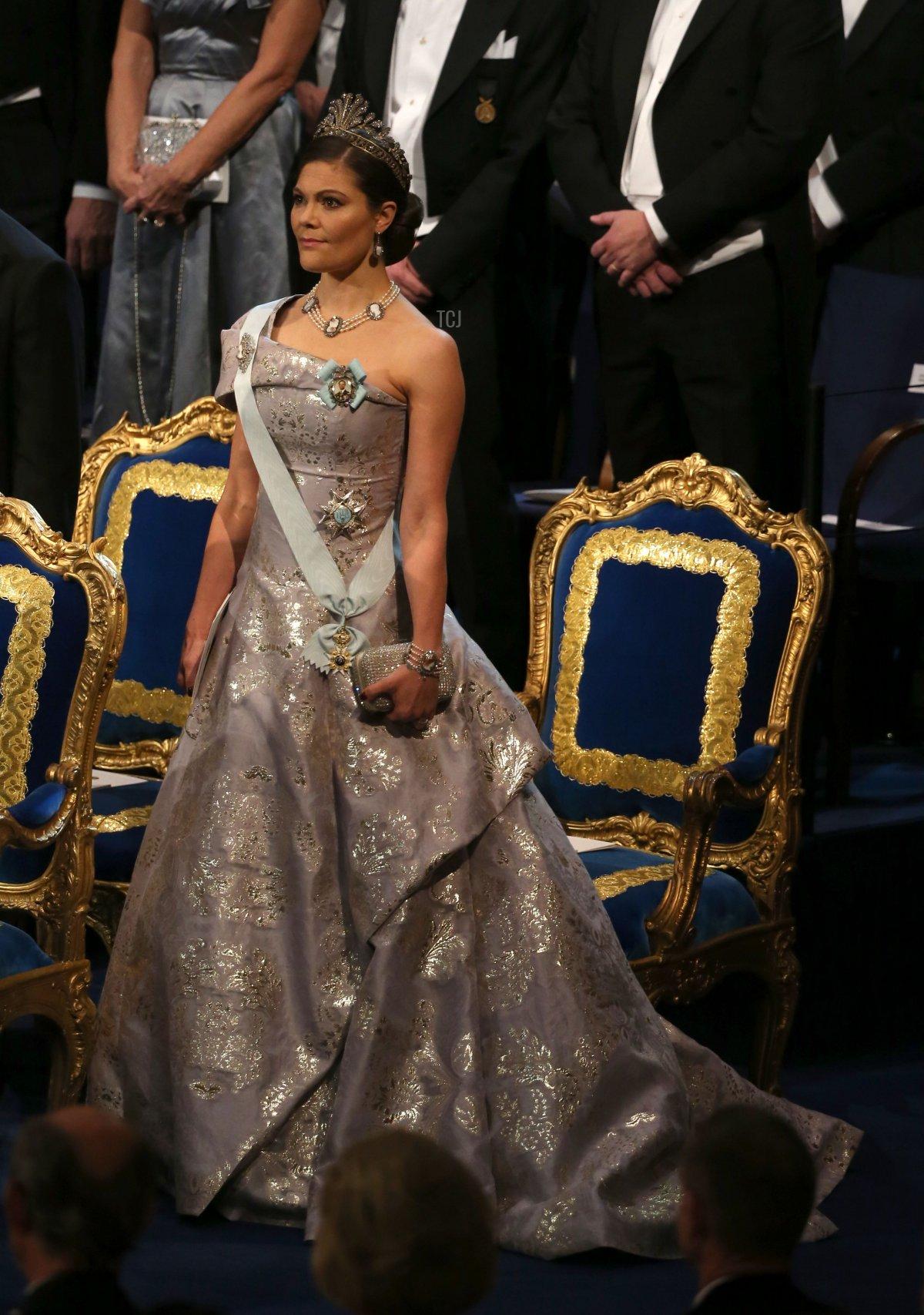 Sweden's Crown Princess Victoria attends the 2016 Nobel Banquet at the Stockholm City Hall on December 10, 2016 in Stockholm, Sweden
