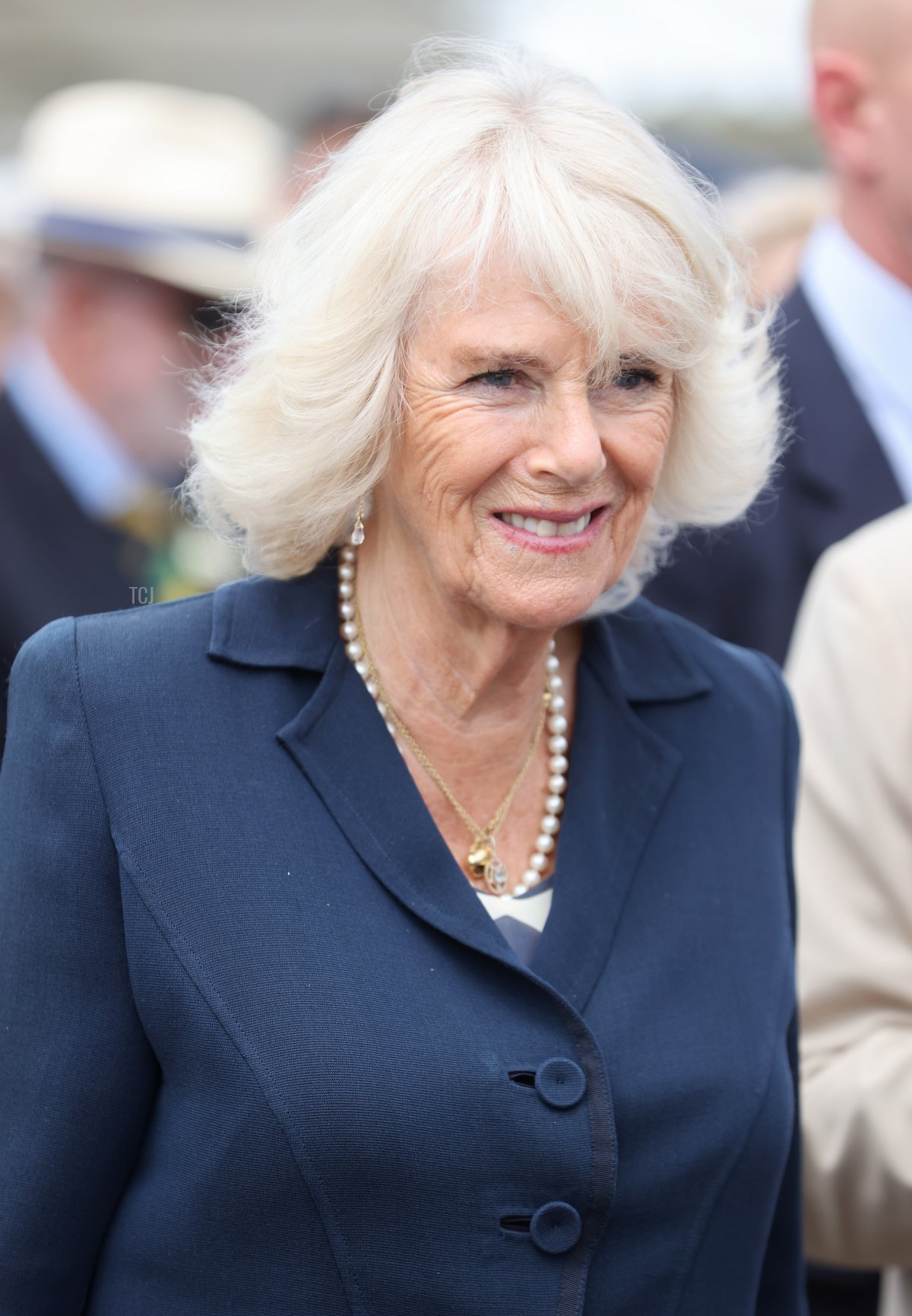 Camilla, Duchess of Cornwall smiles during her visit to The Great Yorkshire Show on July 15, 2021 in Harrogate, England