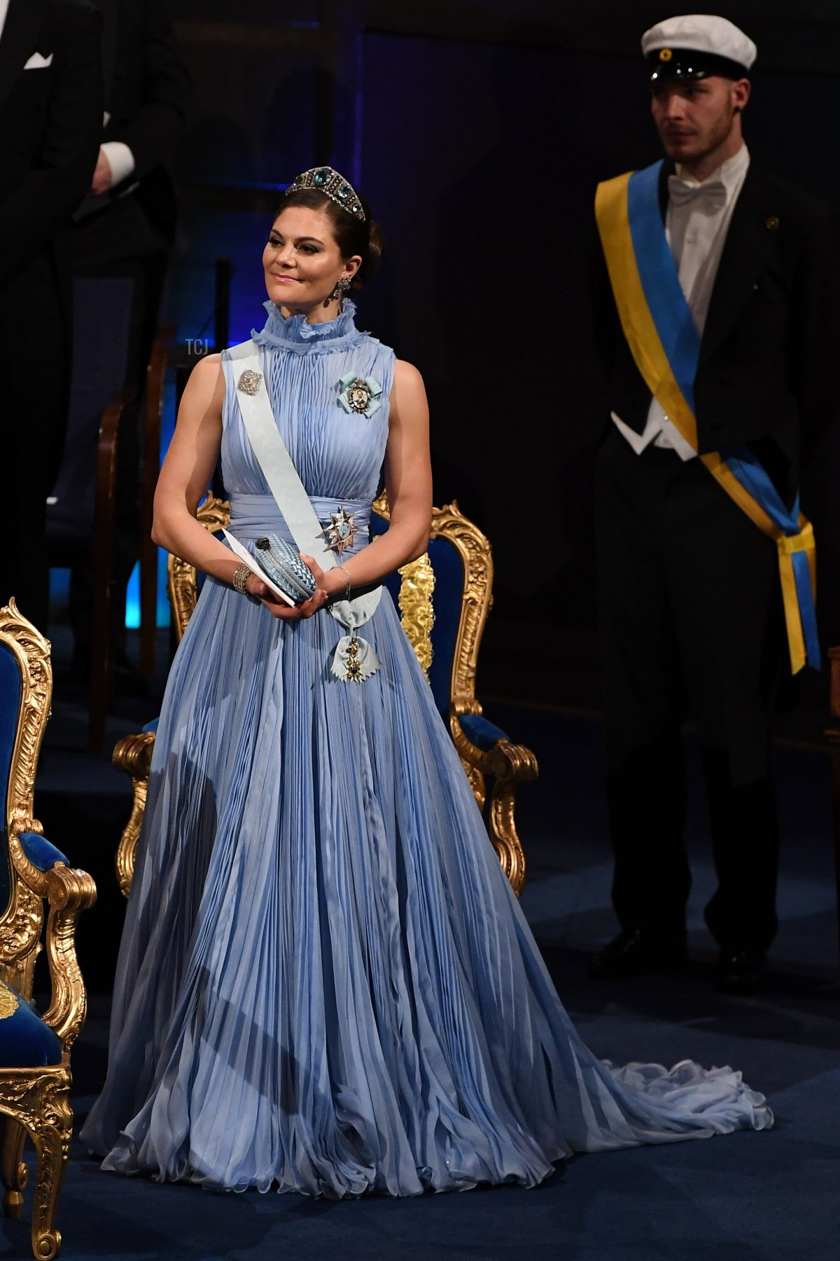 Crown Princess Victoria of Sweden attends the Nobel Prize Awards Ceremony and Banquet on December 10, 2017 in Stockholm, Sweden
